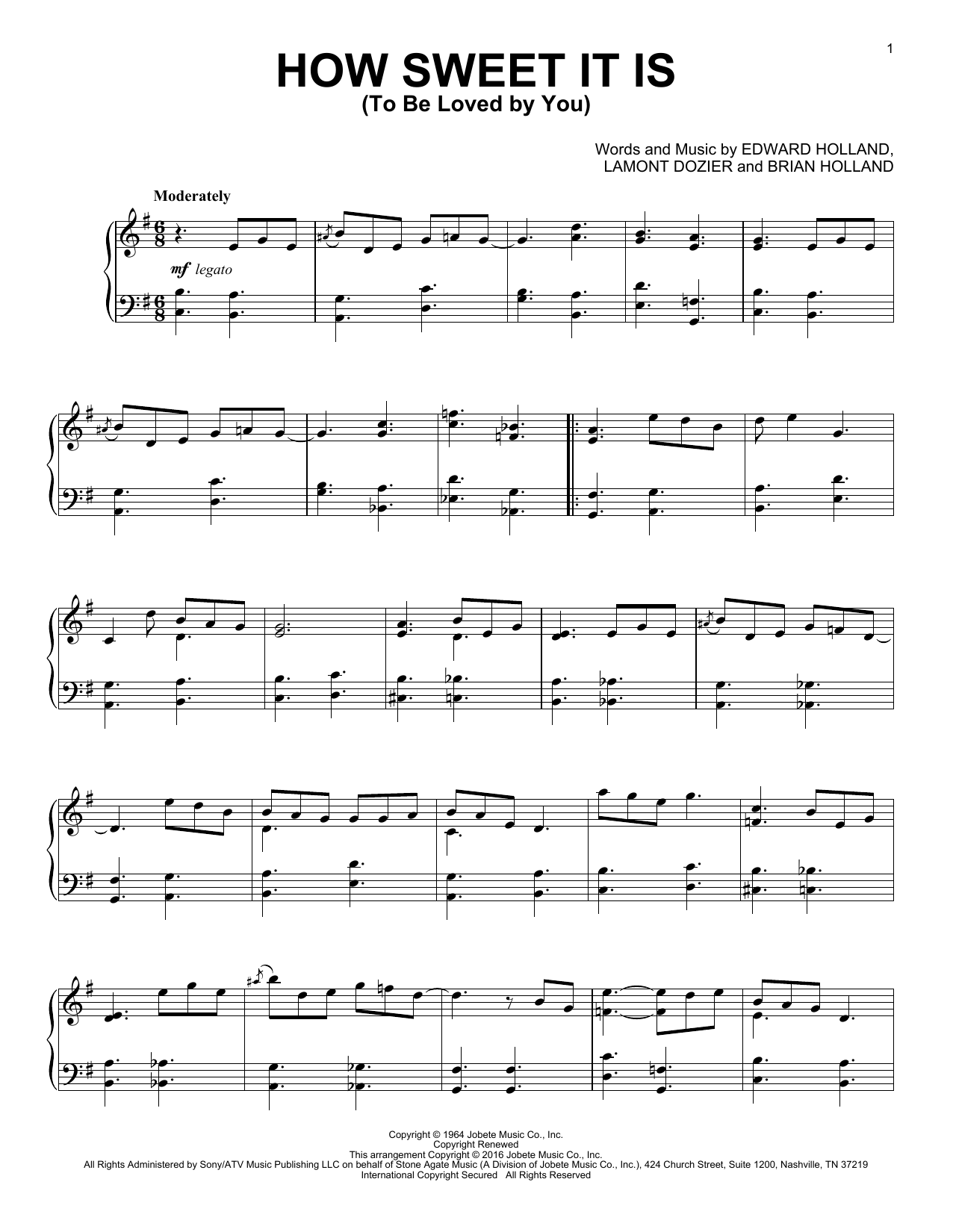 Partition piano How Sweet It Is (To Be Loved By You) de James Taylor - Piano Solo