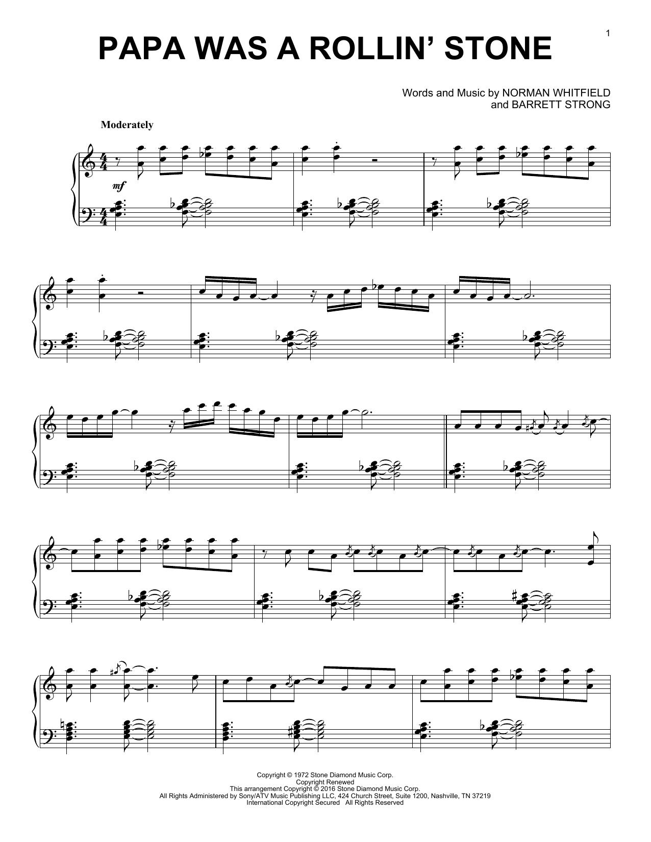 Partition piano Papa Was A Rollin' Stone de Barrett Strong - Piano Solo