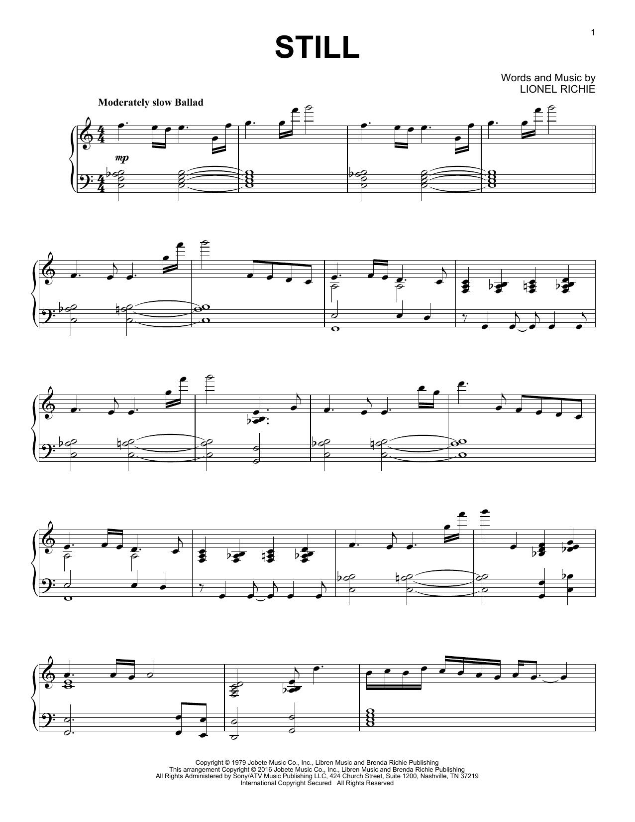 Partition piano Still de The Commodores - Piano Solo