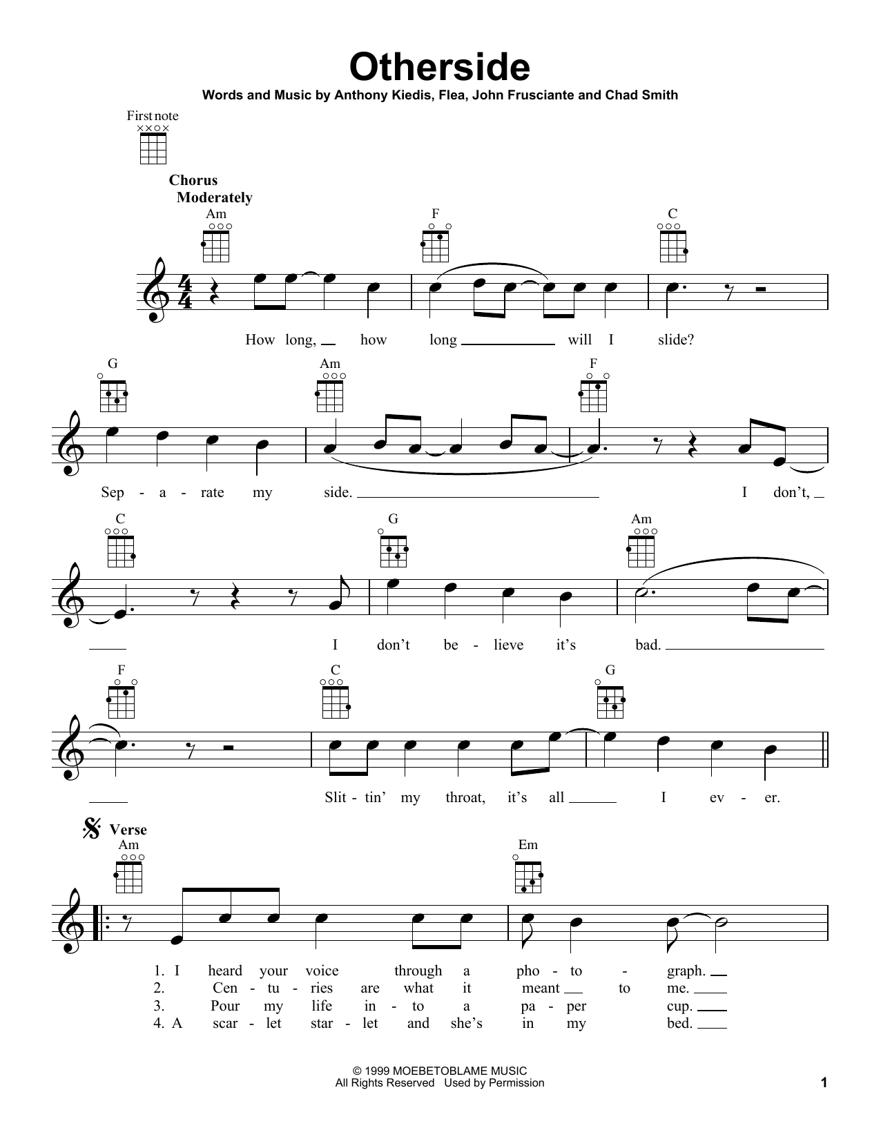 Tablature guitare Otherside de Red Hot Chili Peppers - Ukulele