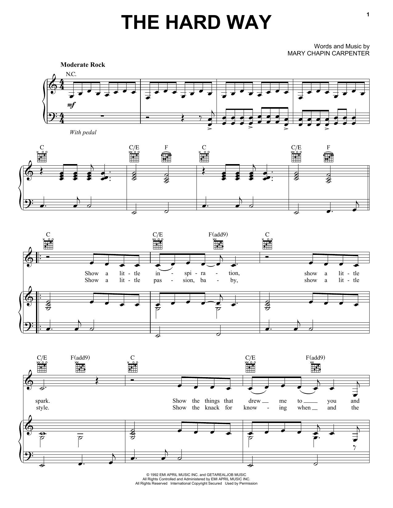 Partition piano The Hard Way de Mary Chapin Carpenter - Piano Voix Guitare (Mélodie Main Droite)