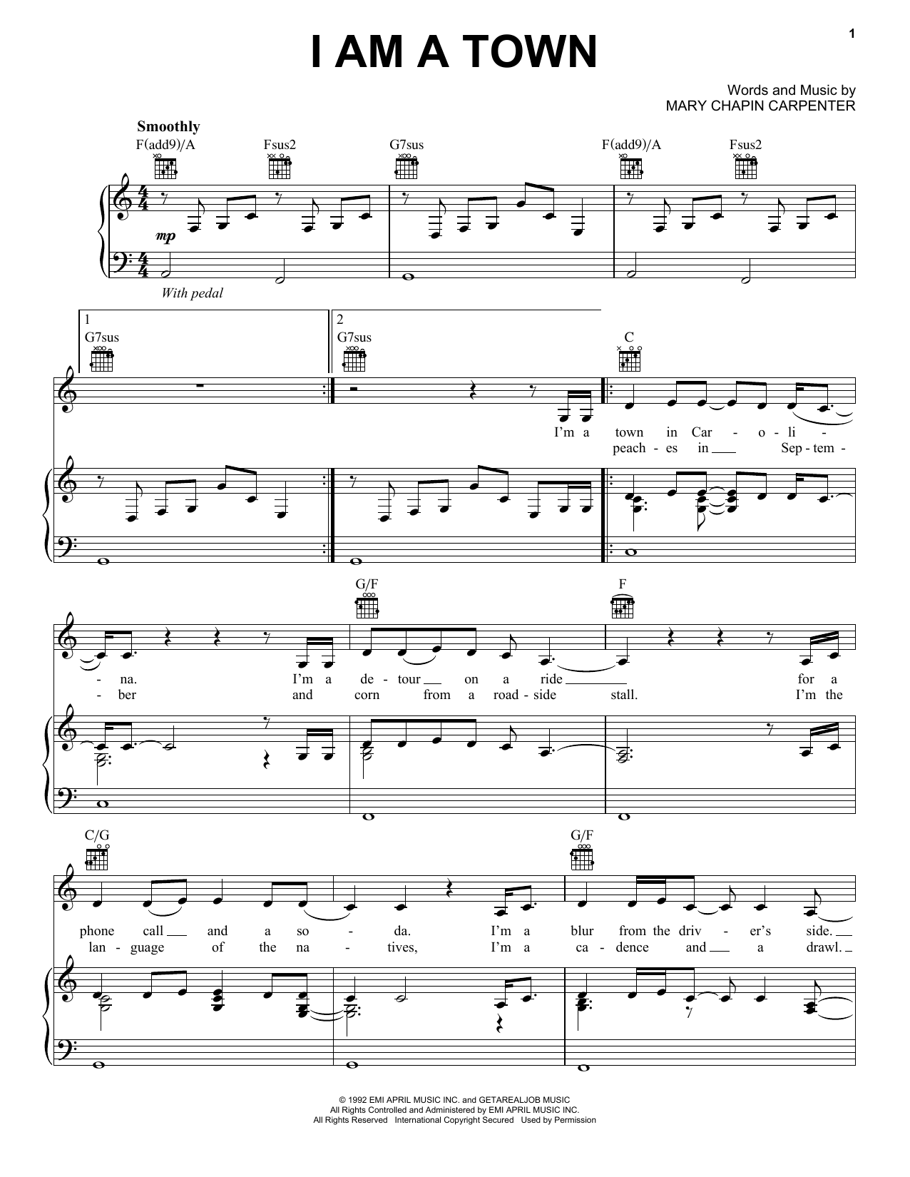 I Am A Town (Piano, Vocal & Guitar (Right-Hand Melody))