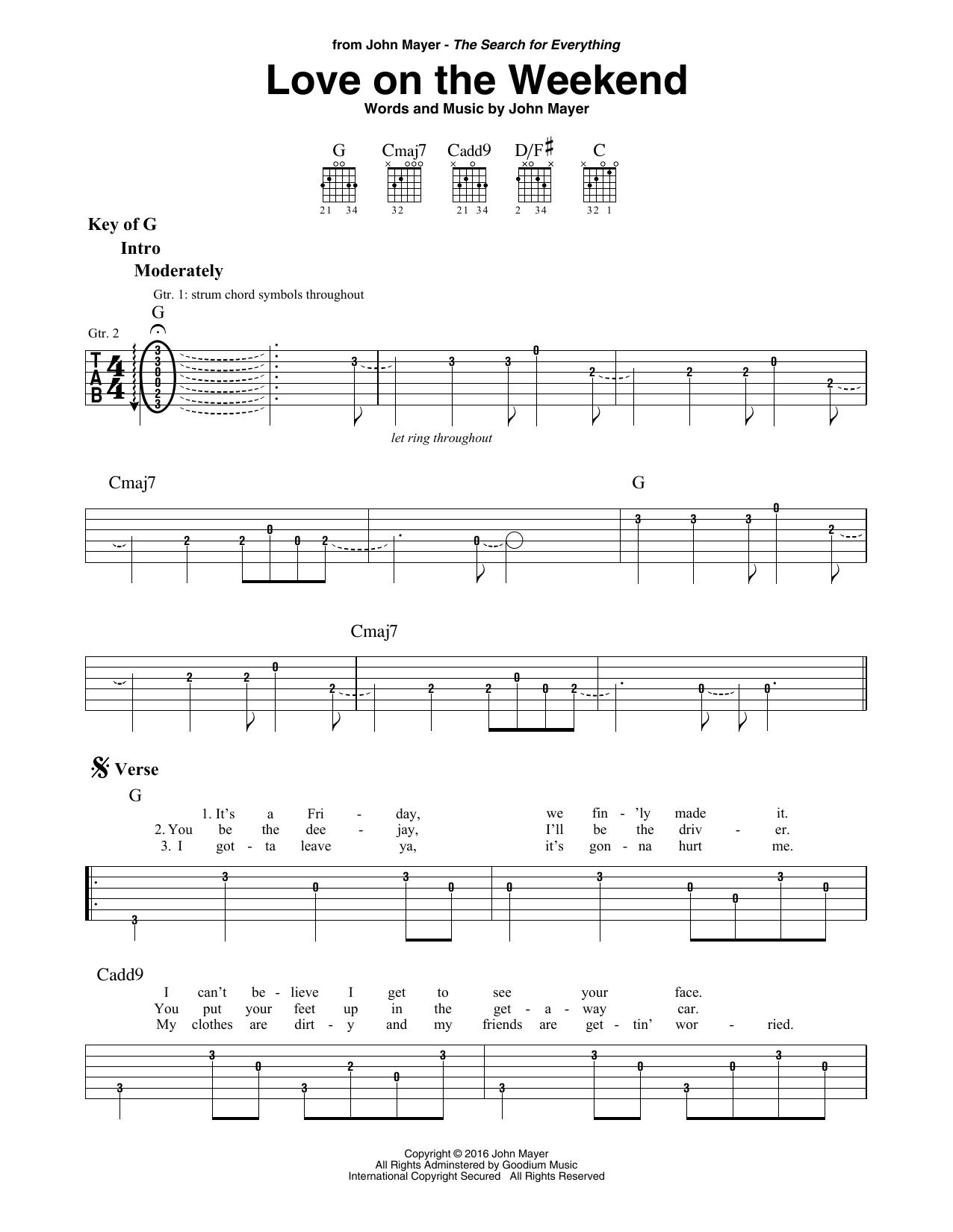 Love On The Weekend By John Mayer Guitar Lead Sheet Guitar