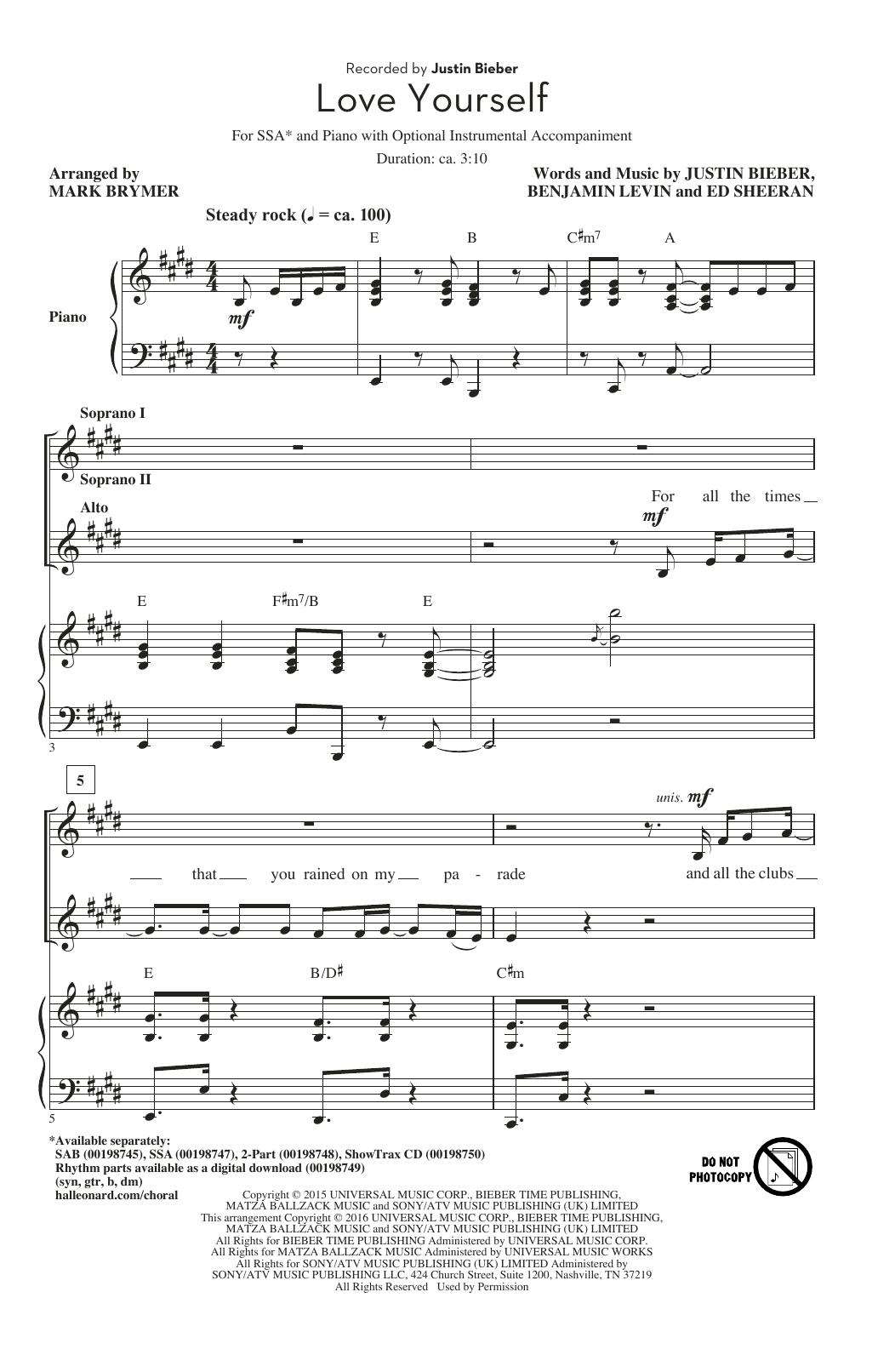 Love Yourself (arr. Mark Brymer) (SSA Choir)