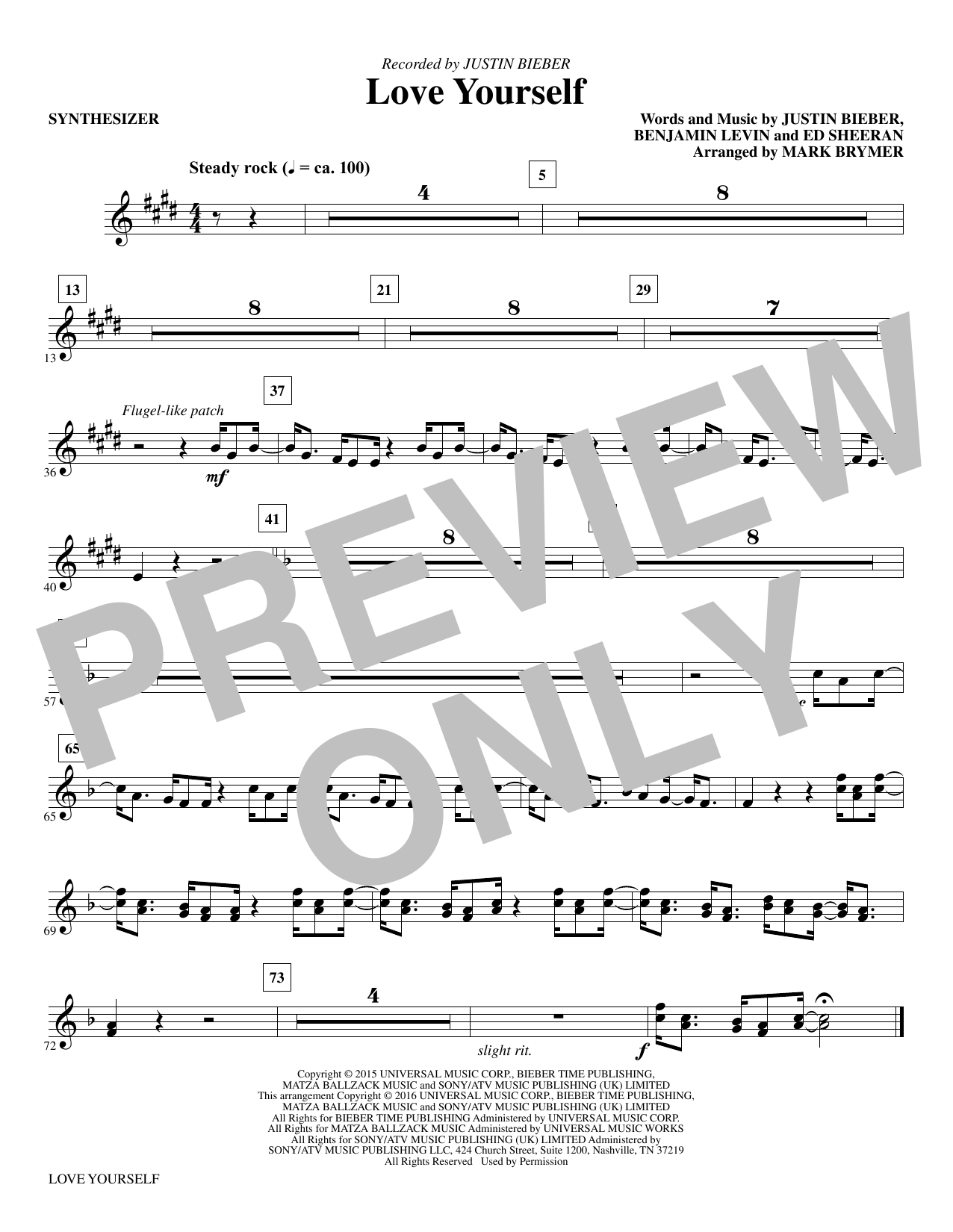 Love Yourself (complete set of parts) sheet music for orchestra/band by Mark Brymer, Benjamin Levin, Ed Sheeran and Justin Bieber. Score Image Preview.
