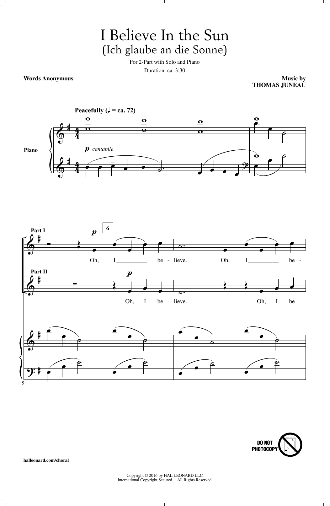 I Believe In The Sun (Ich Glaube An Die Sonne) (2-Part Choir)