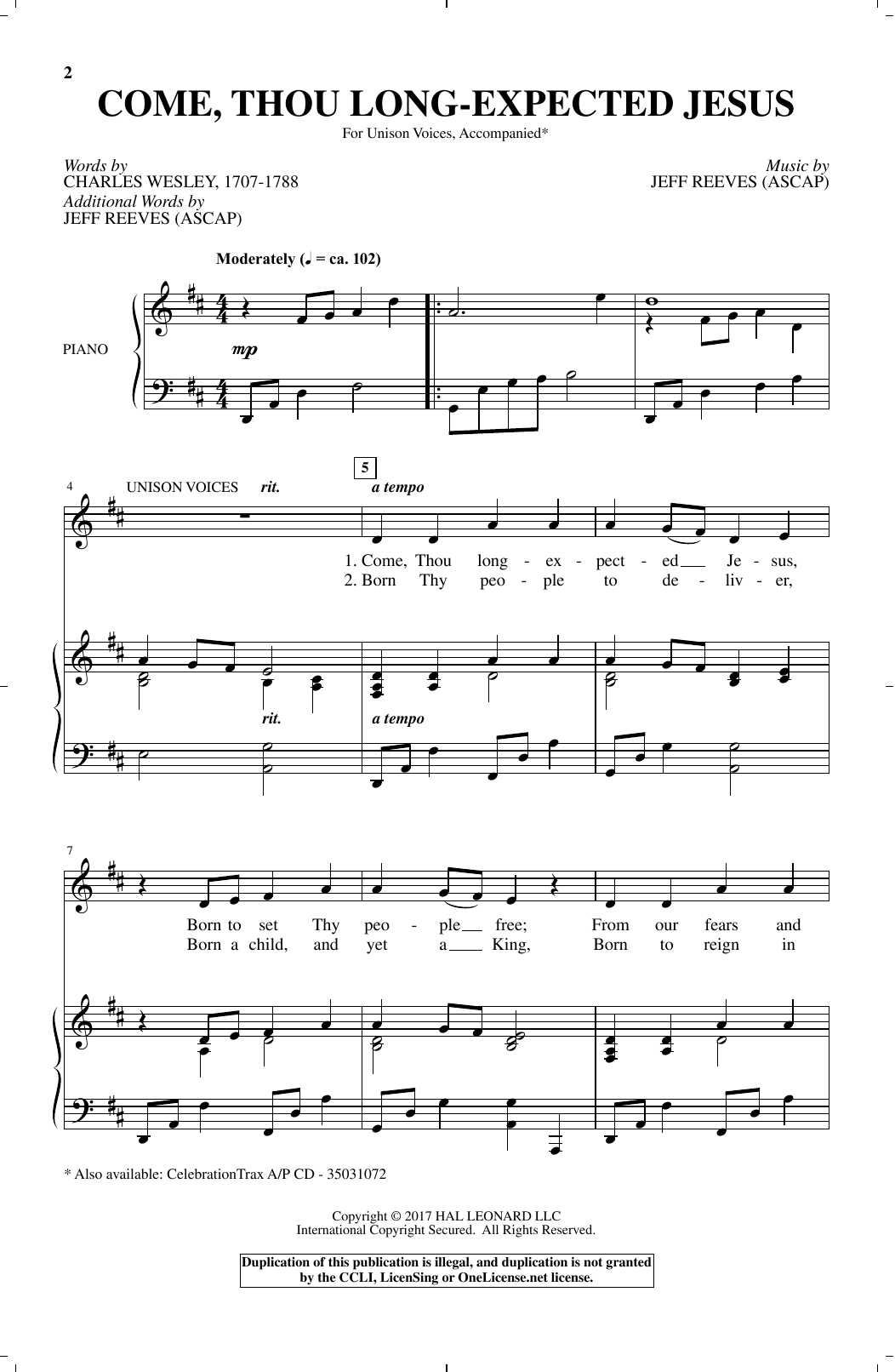 Come, Thou Long-Expected Jesus (Unison Choir)