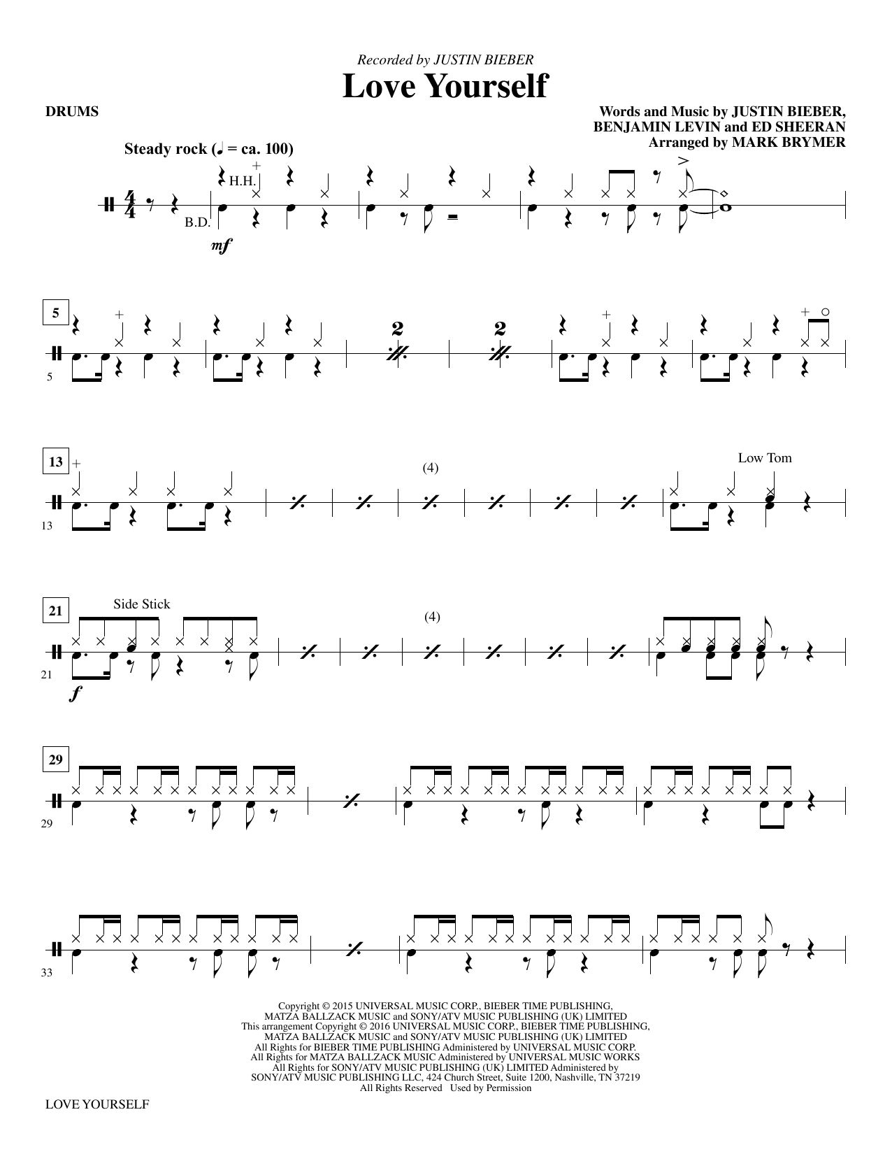 Love Yourself - Drums Sheet Music