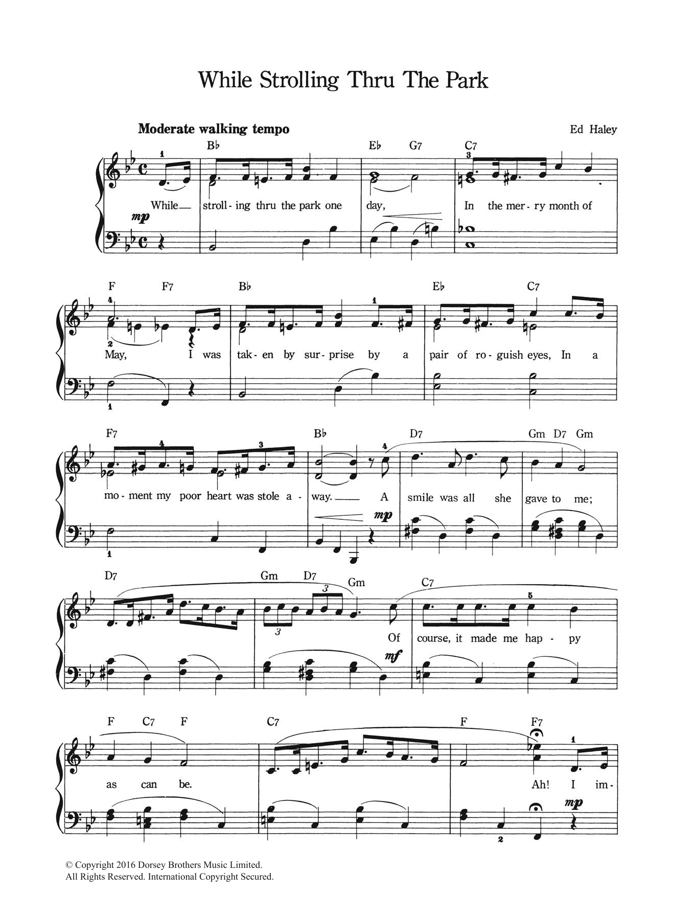 While Strolling Through The Park One Day Sheet Music