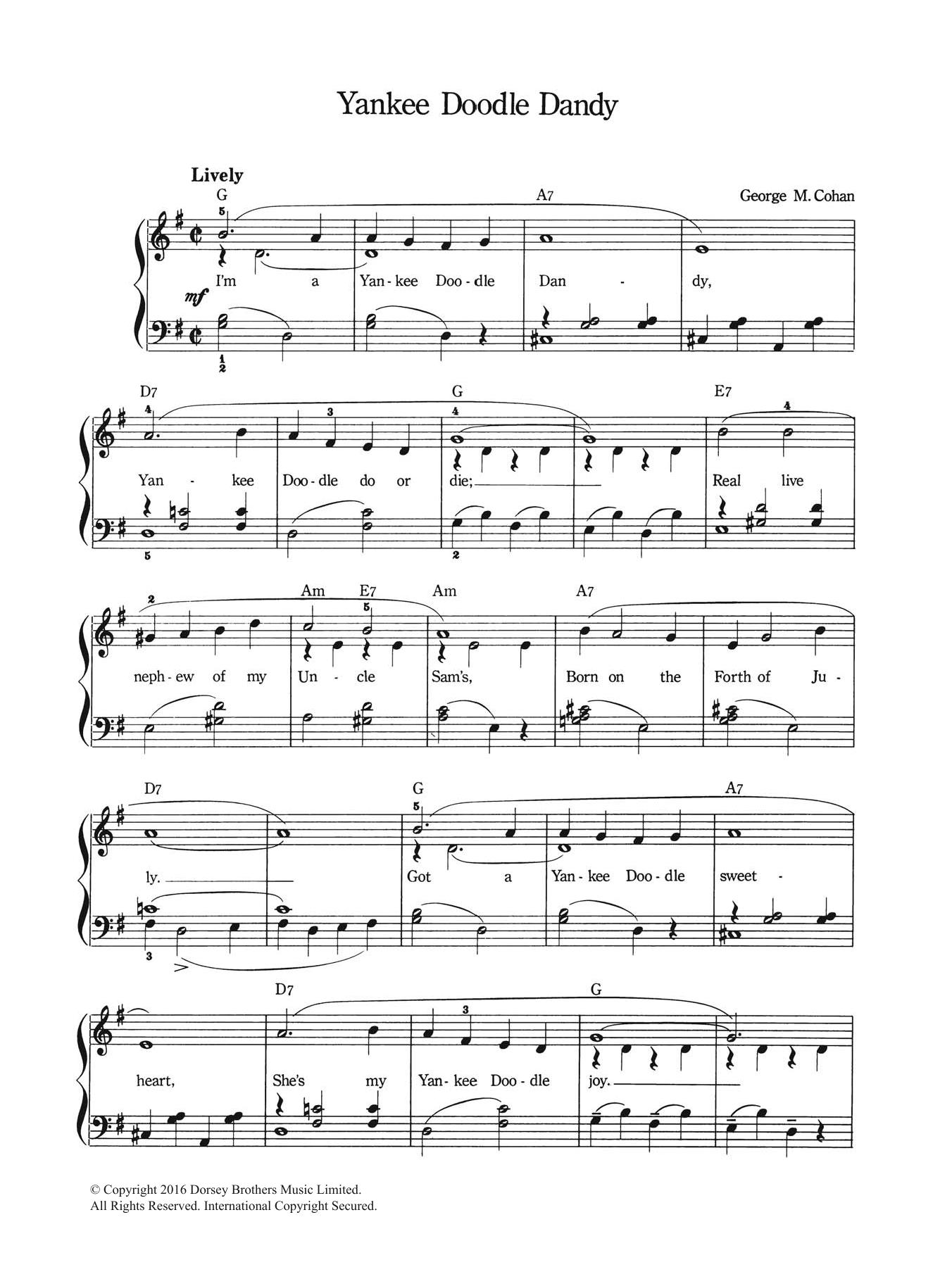 Yankee Doodle Dandy Sheet Music