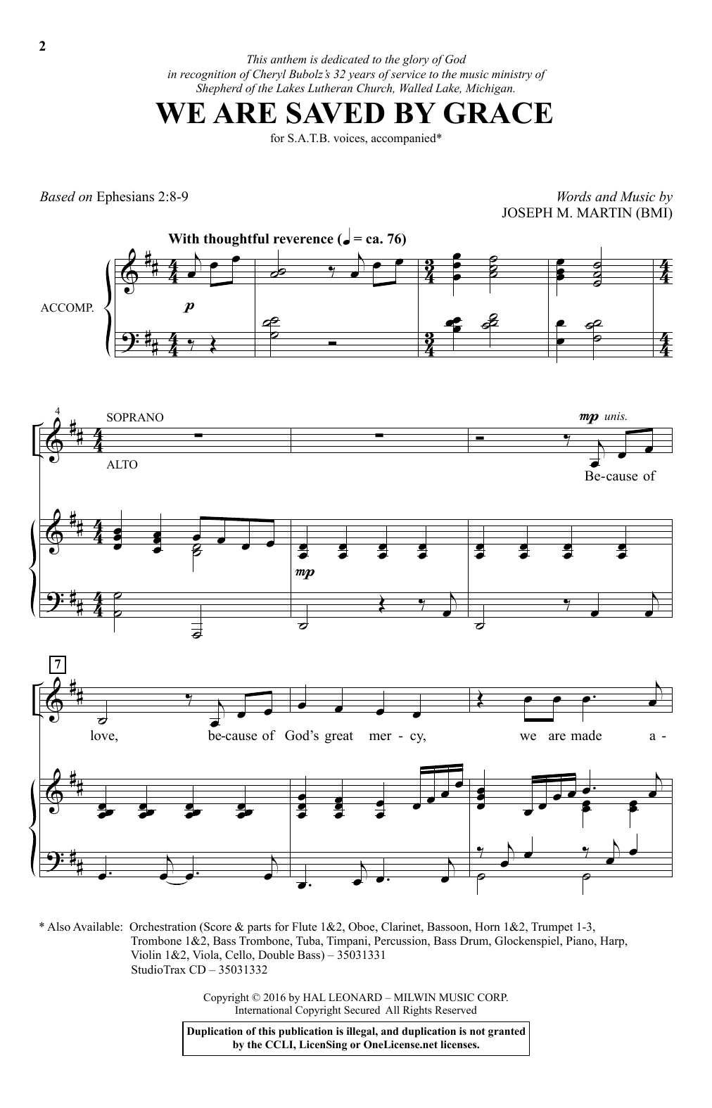 We Are Saved By Grace Sheet Music