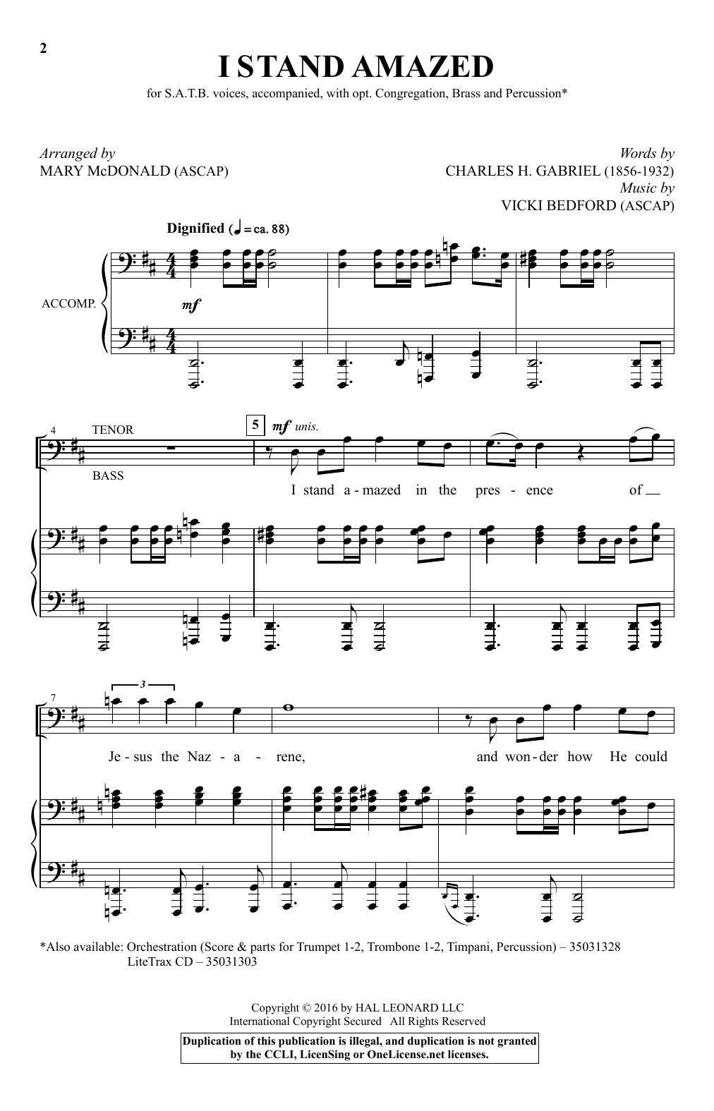 I Stand Amazed (arr. Mary McDonald) (SATB Choir)