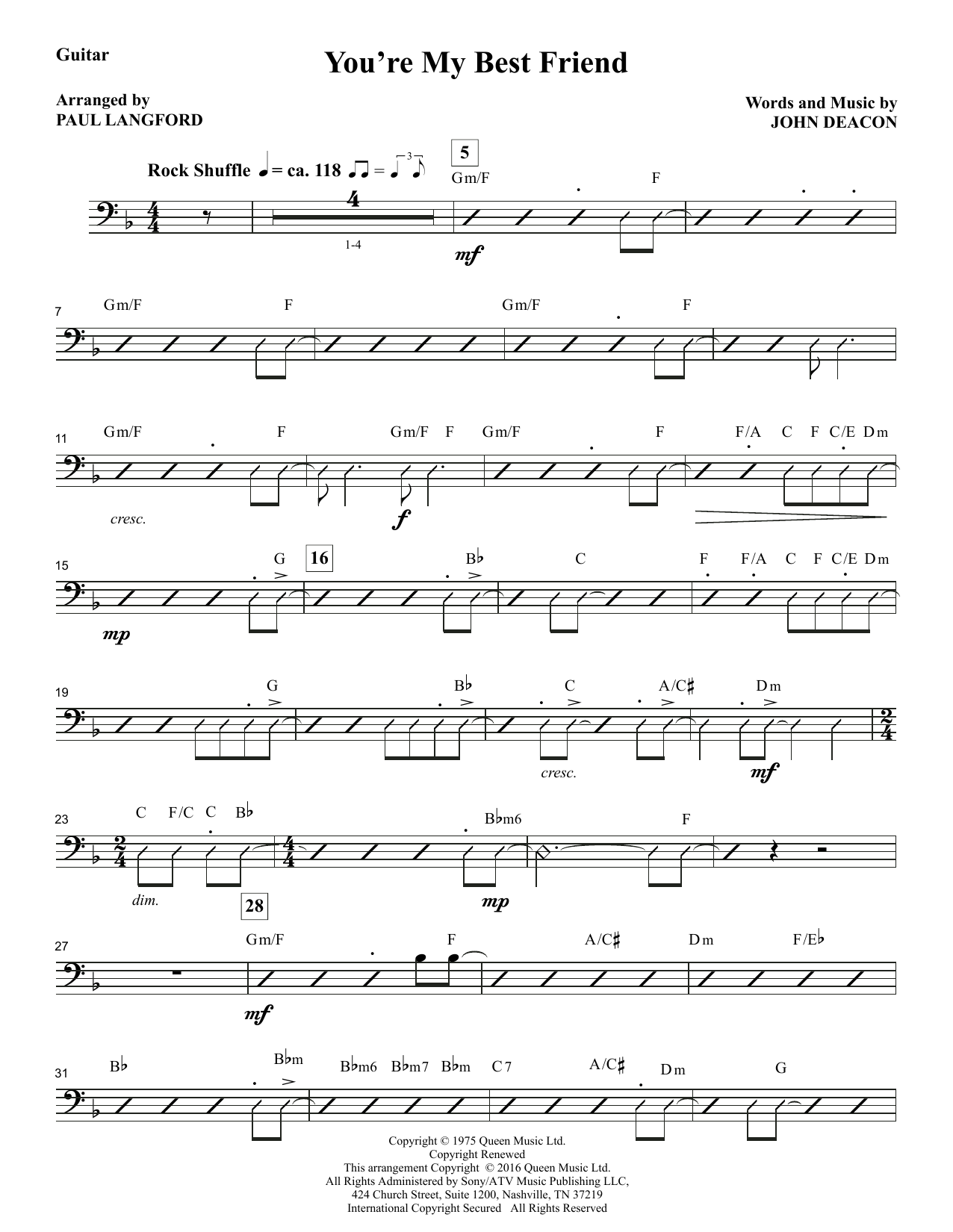 You're My Best Friend (complete set of parts) sheet music for orchestra/band by Paul Langford and Queen. Score Image Preview.