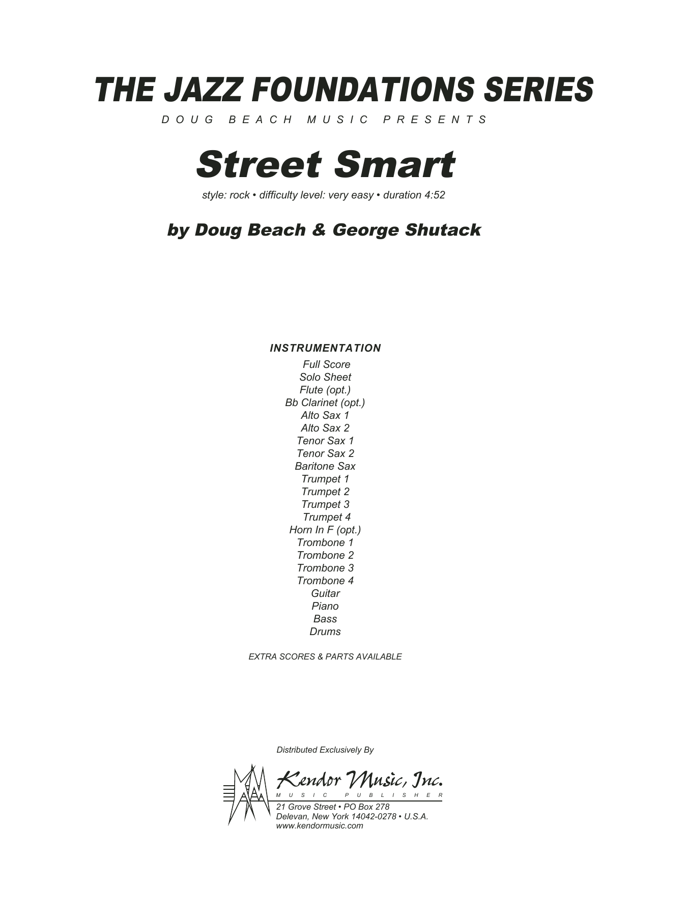 Street Smart (COMPLETE) sheet music for jazz band by Doug Beach & George Shutack. Score Image Preview.