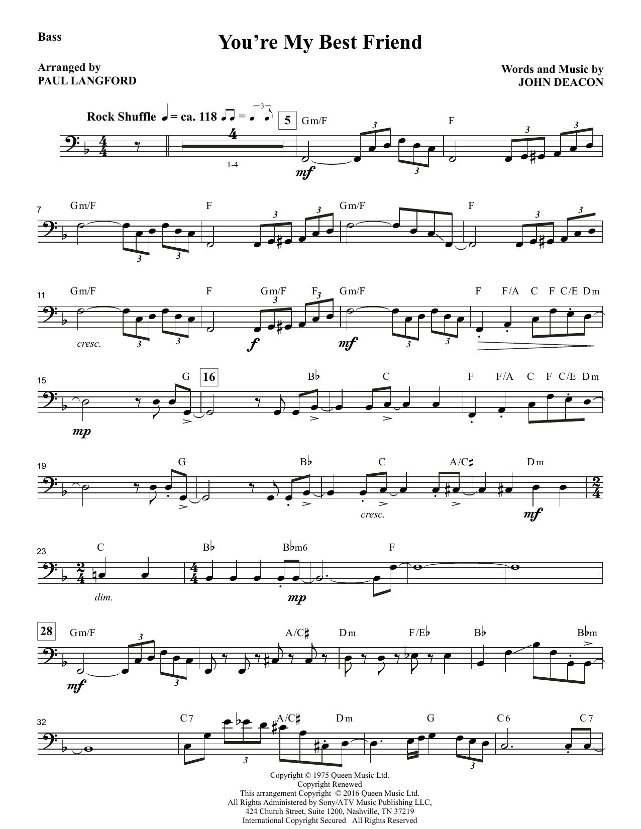 You're My Best Friend (arr. Paul Langford) - Bass Sheet Music