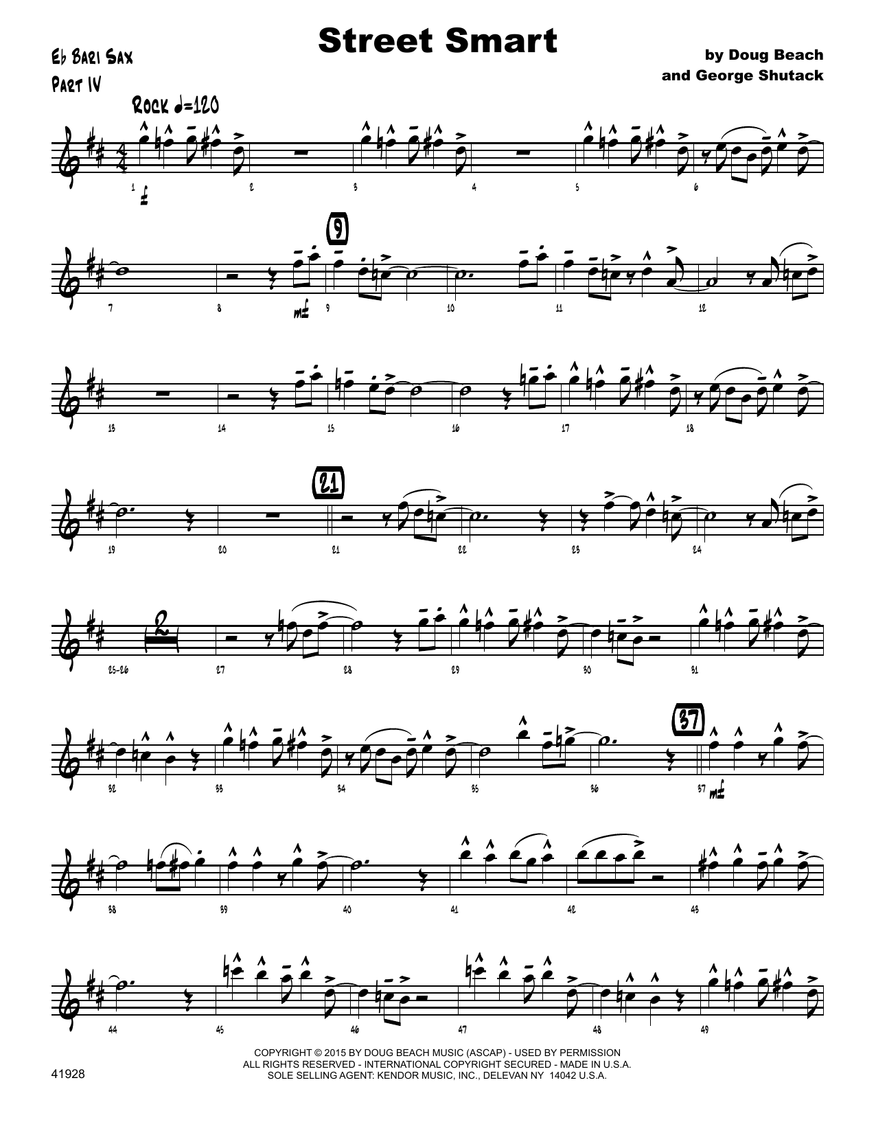 Street Smart - Eb Baritone Saxophone Sheet Music