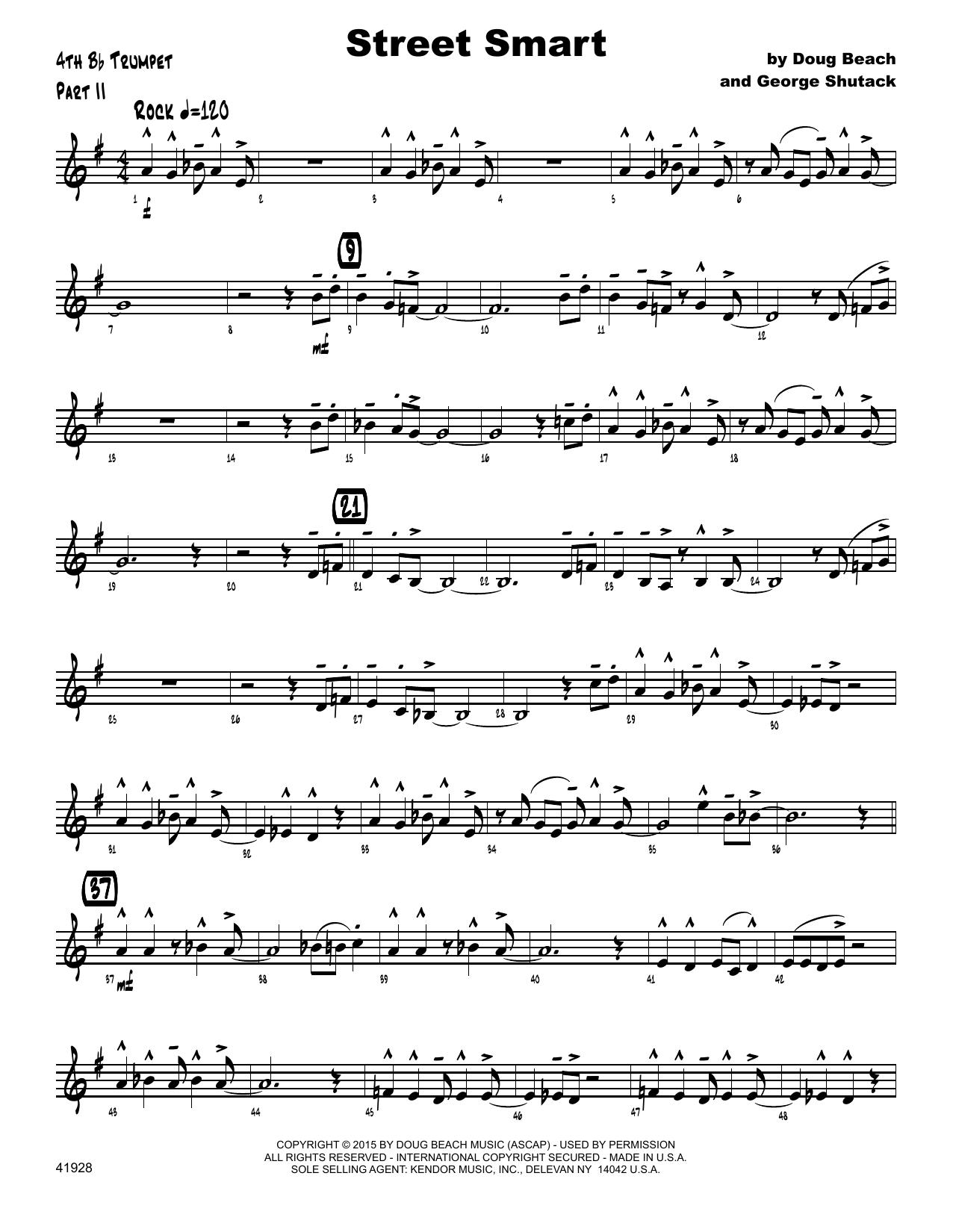 Street Smart - 4th Bb Trumpet Sheet Music