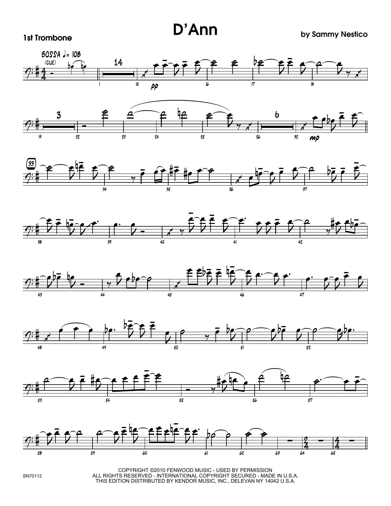 D'Ann - 1st Trombone Sheet Music