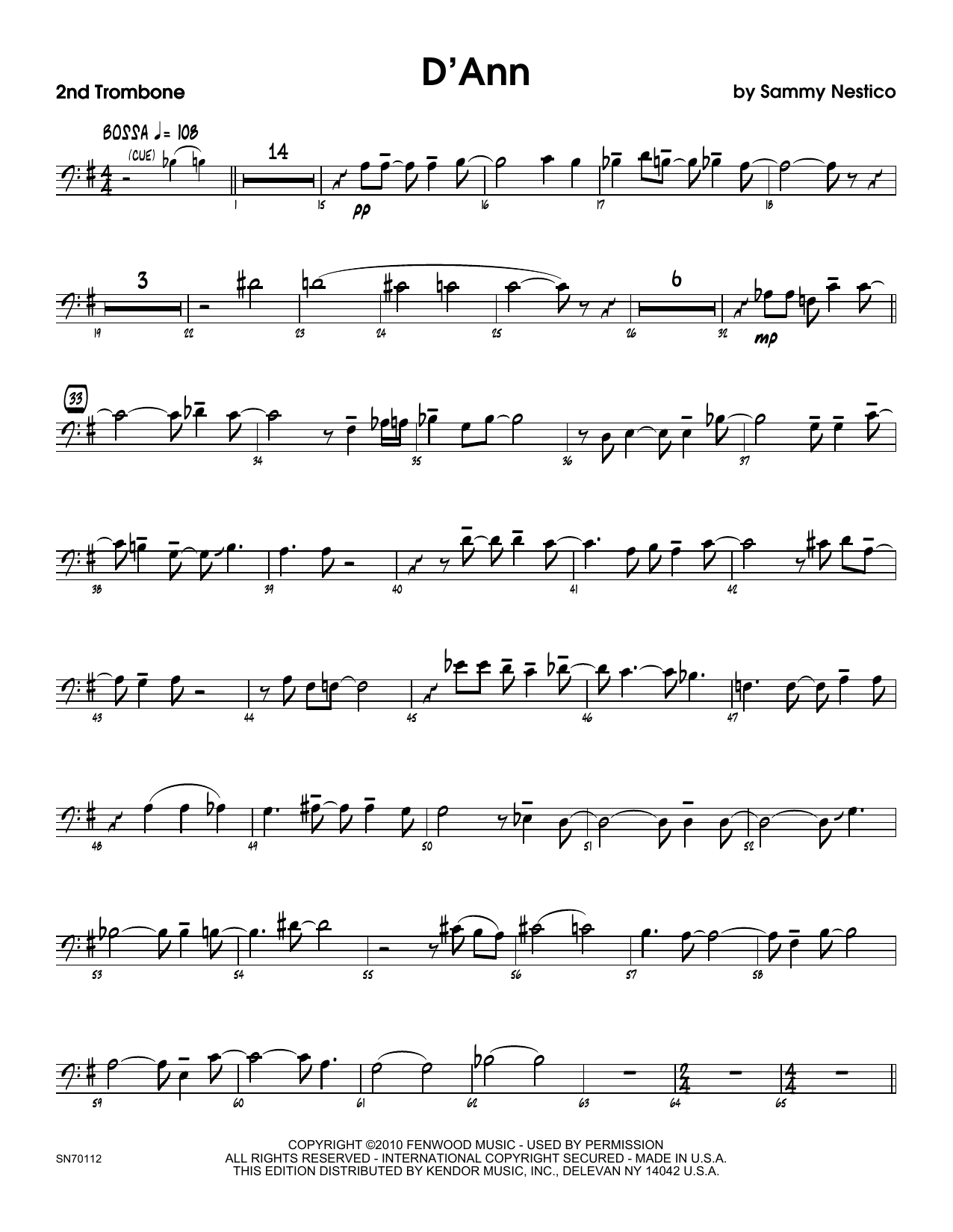 D'Ann - 2nd Trombone Sheet Music