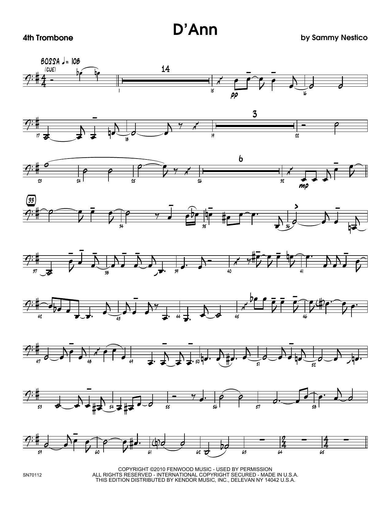 D'Ann - 4th Trombone Sheet Music