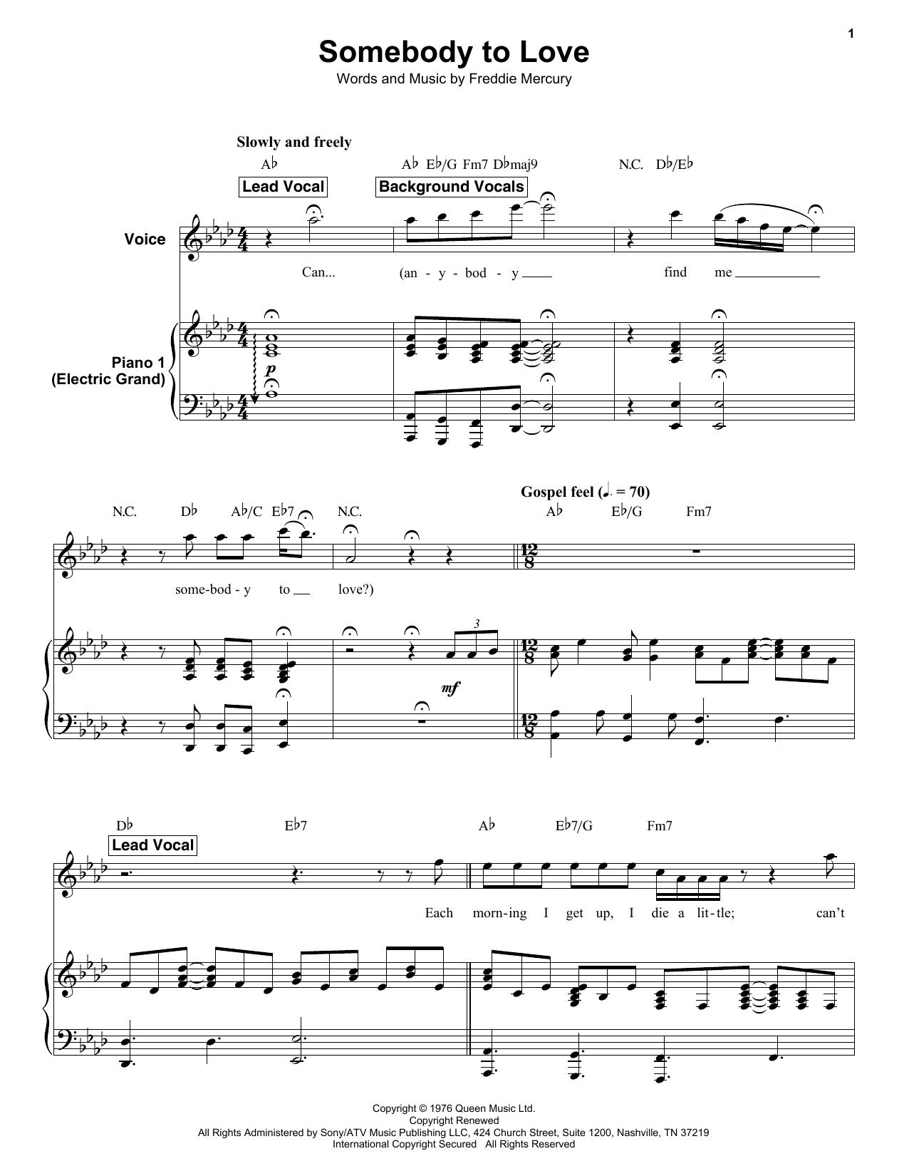Somebody To Love (Keyboard Transcription)