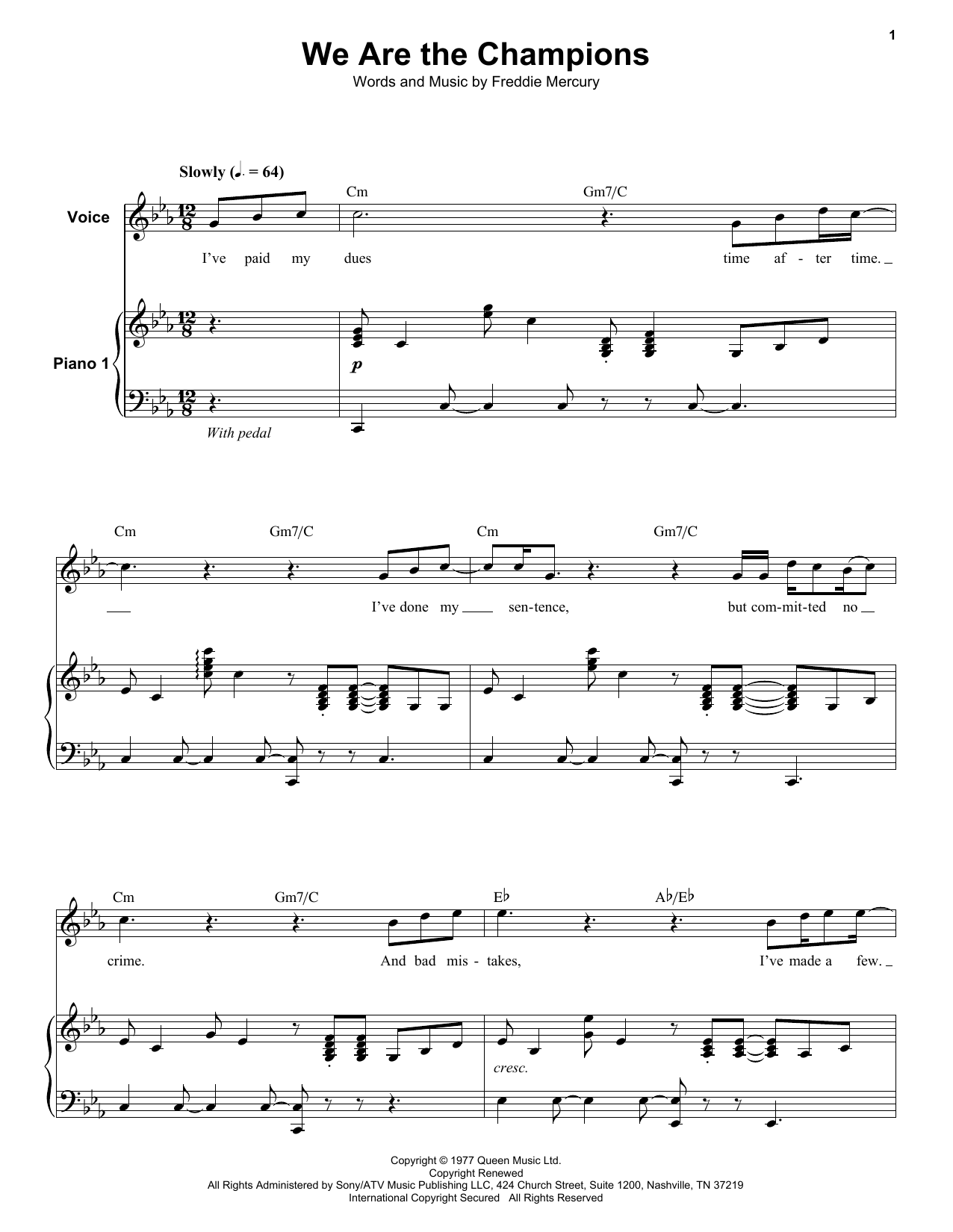 We Are The Champions (Keyboard Transcription)