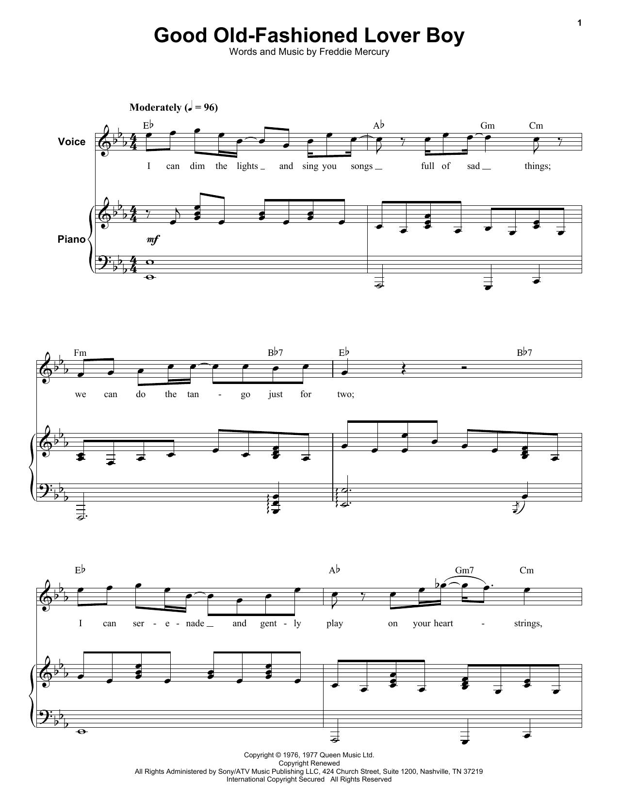 Good Old-Fashioned Lover Boy (Keyboard Transcription)