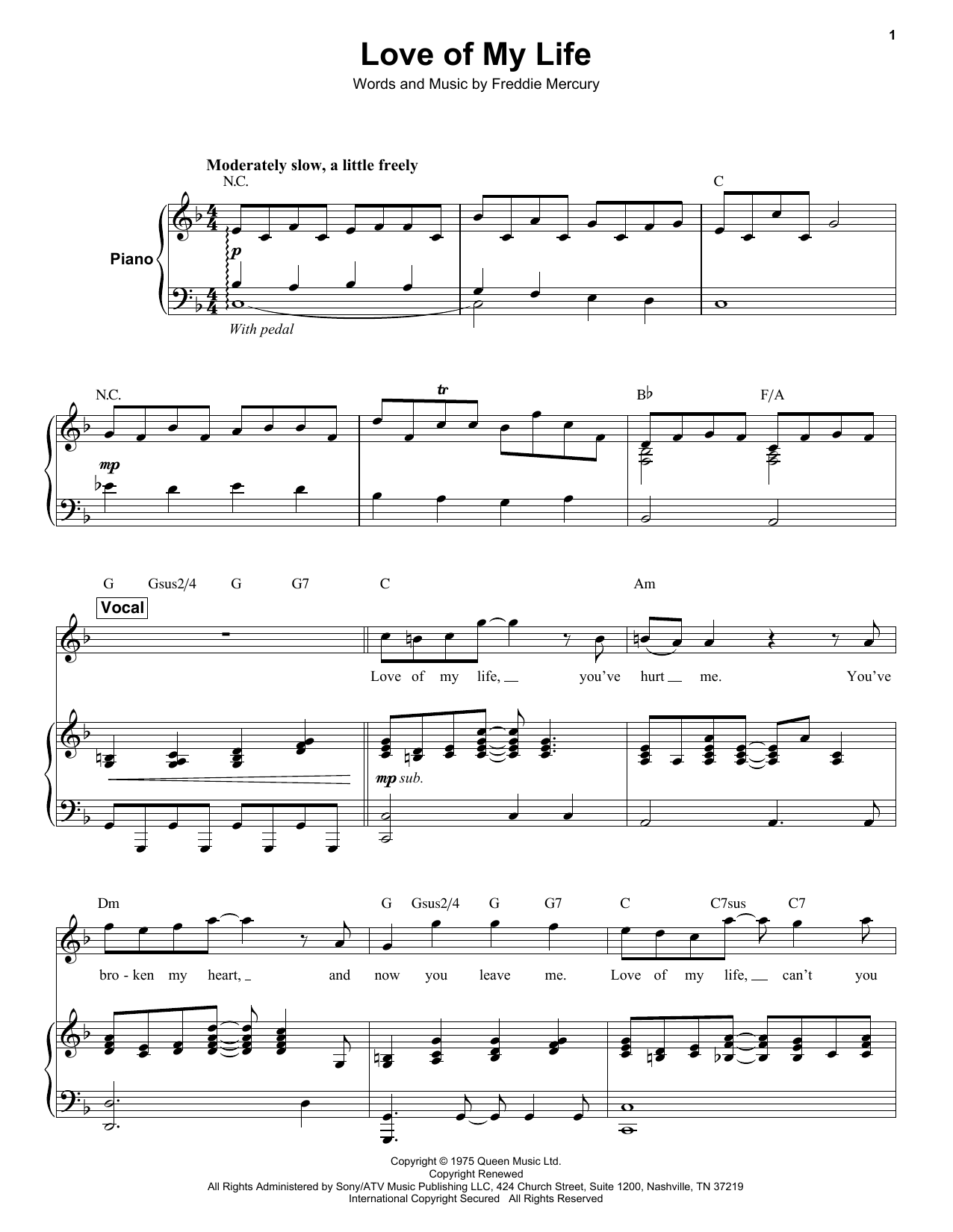 Queen Note For Note Keyboard Transcriptions Sheet Music