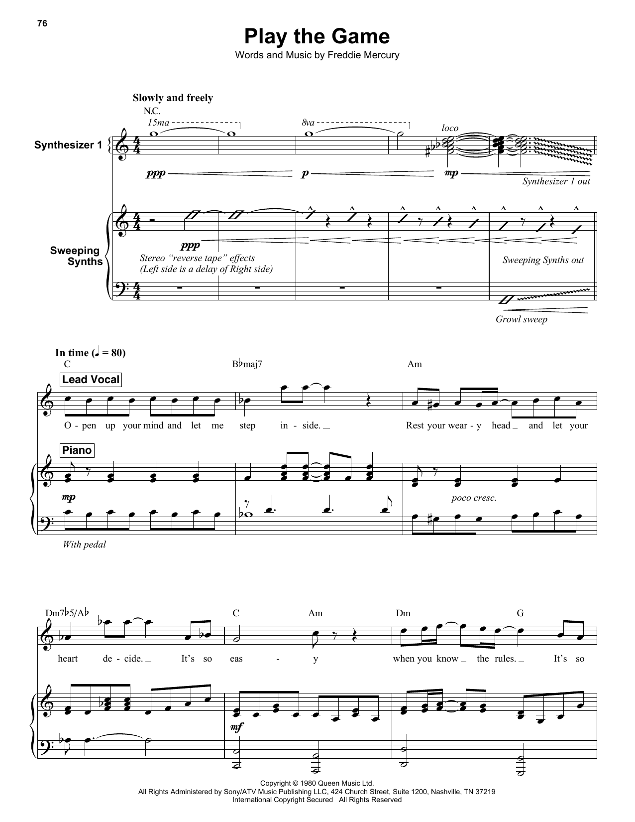 Queen - Play the Game - Piano Solo Cover & Sheet Music ...