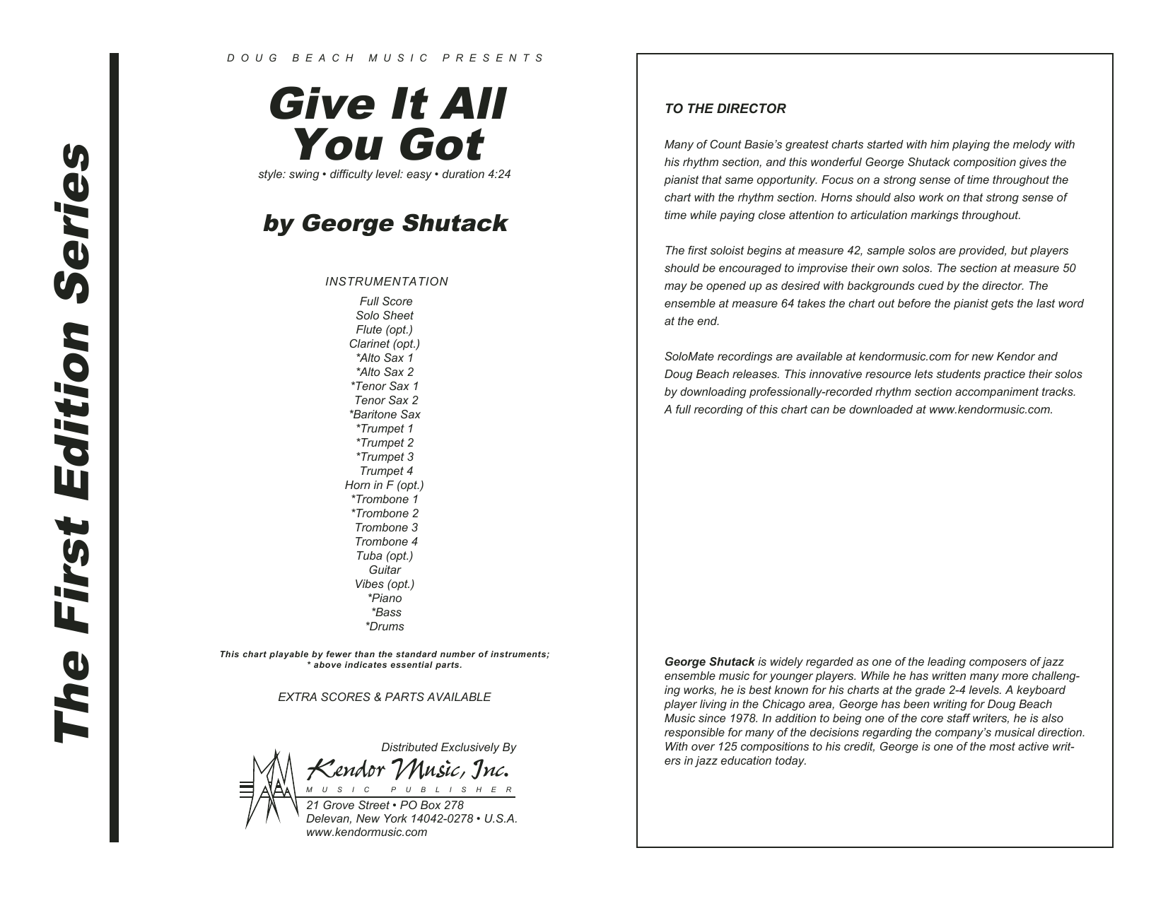 Give It All You Got (COMPLETE) sheet music for jazz band by George Shutack. Score Image Preview.