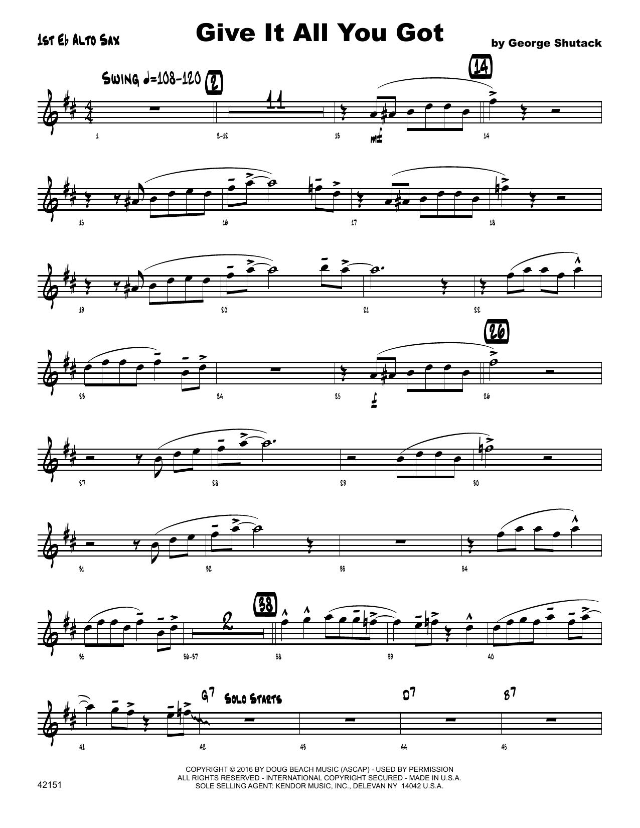 Give It All You Got - 1st Eb Alto Saxophone Sheet Music