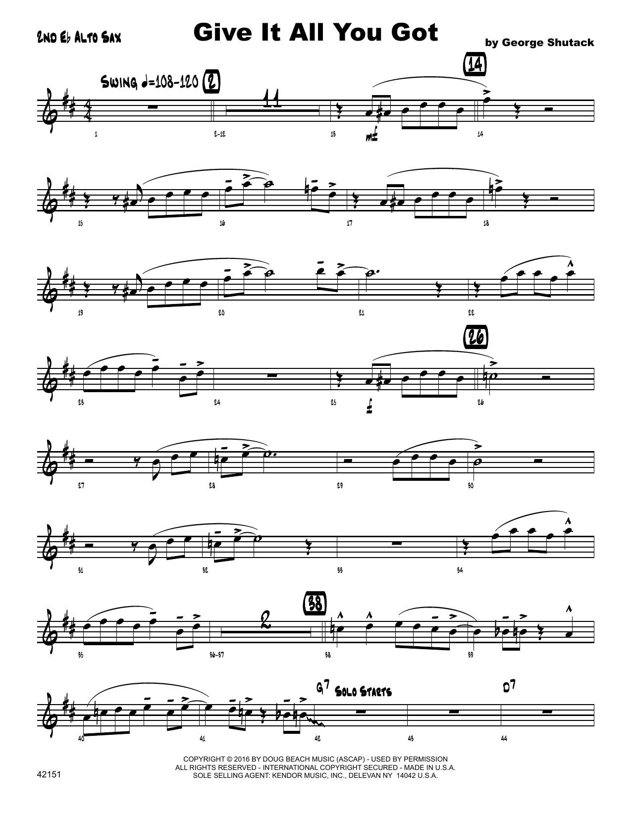 Give It All You Got - 2nd Eb Alto Saxophone Sheet Music