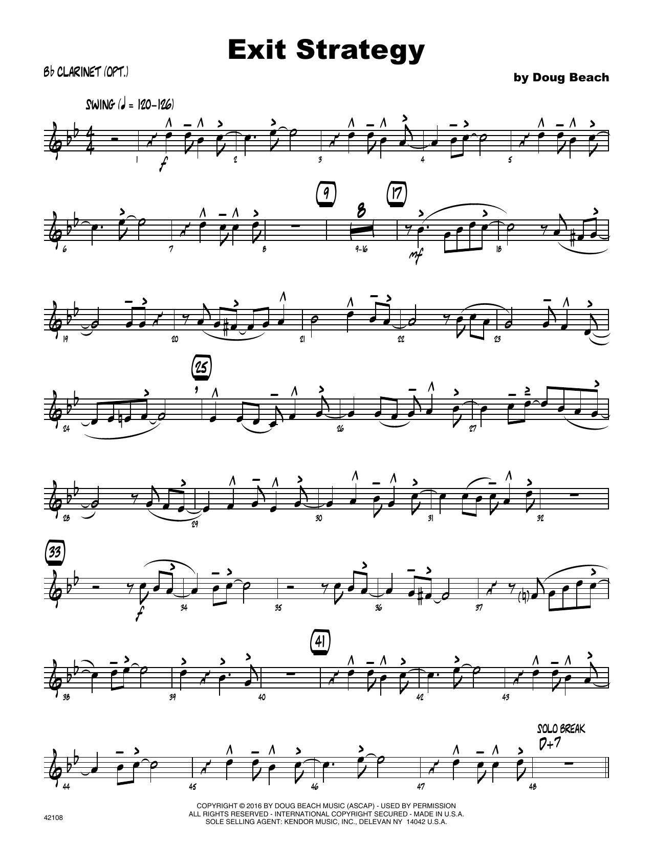 Exit Strategy - Bb Clarinet Sheet Music