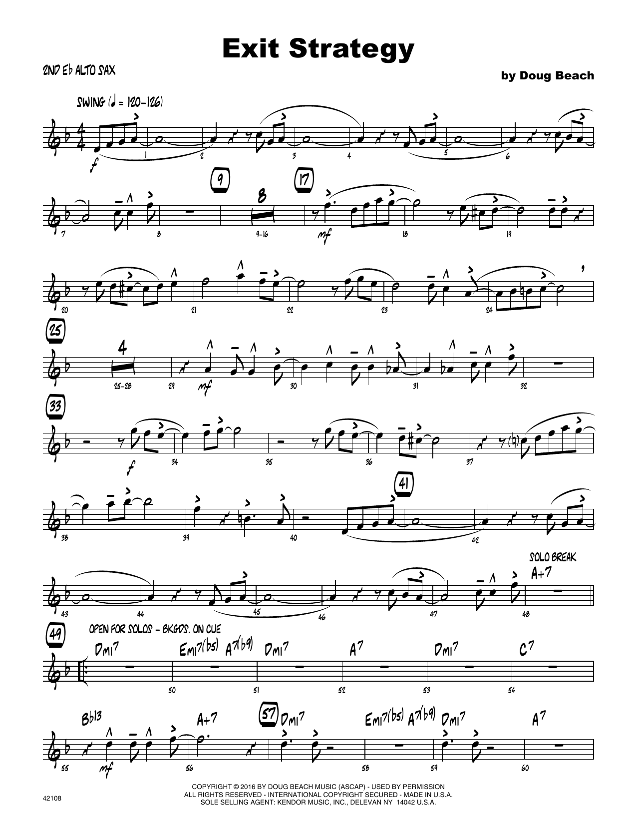 Exit Strategy - 2nd Eb Alto Saxophone Sheet Music