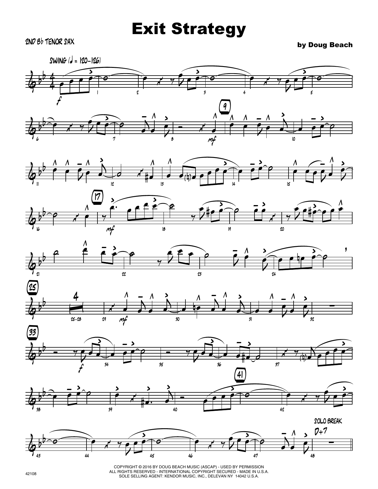 Exit Strategy - 2nd Bb Tenor Saxophone Sheet Music