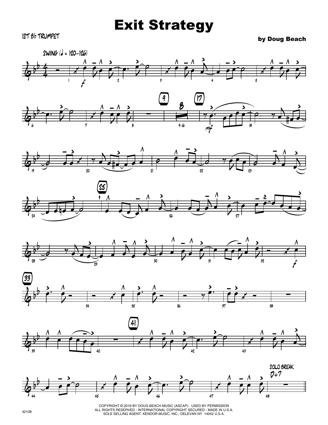 Exit Strategy - 1st Bb Trumpet Sheet Music