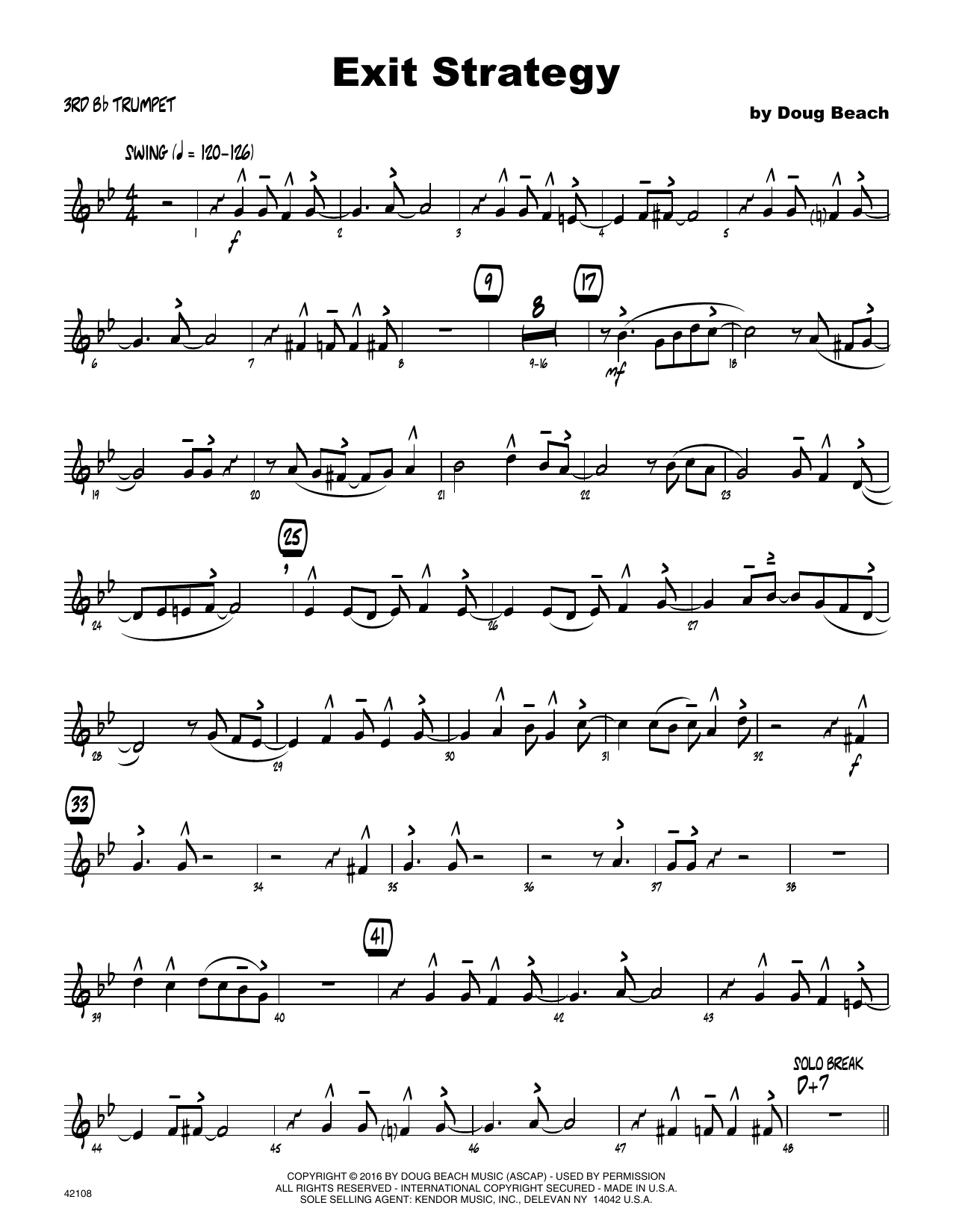 Exit Strategy - 3rd Bb Trumpet Sheet Music