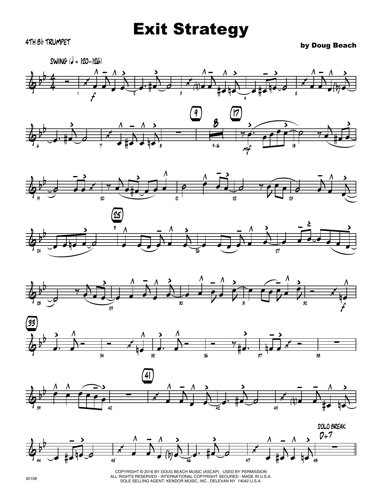 Exit Strategy - 4th Bb Trumpet Sheet Music