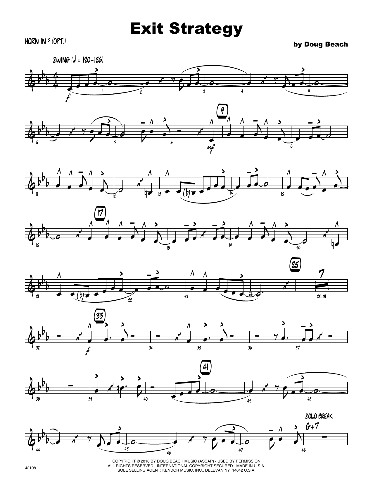 Exit Strategy - Horn in F Sheet Music