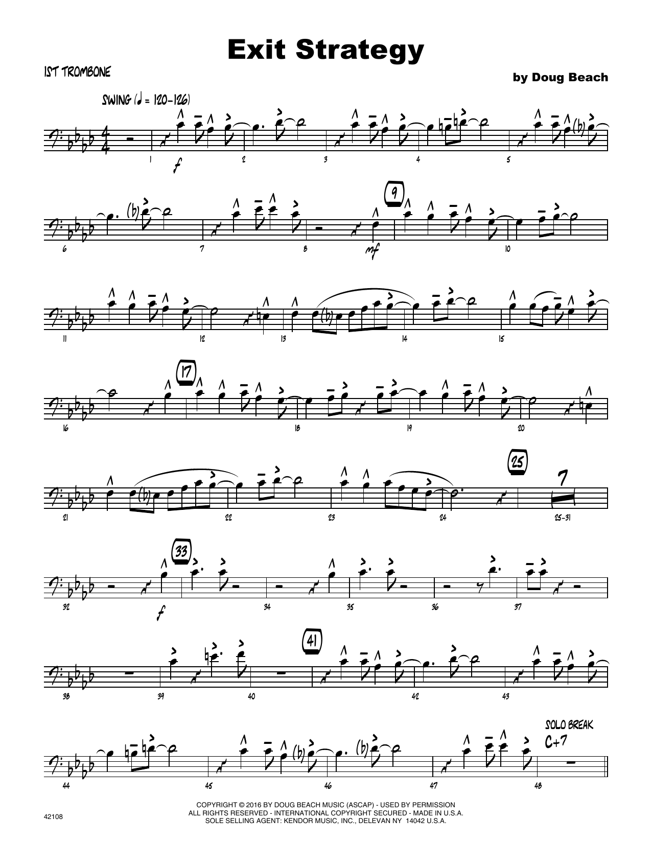 Exit Strategy - 1st Trombone Sheet Music