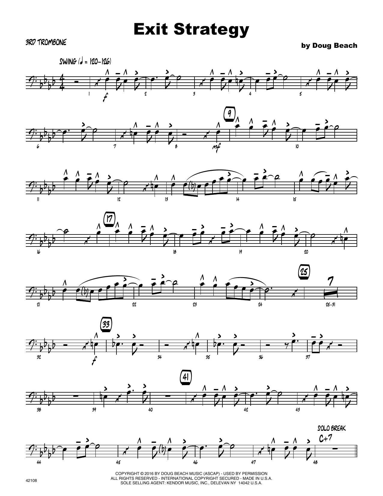 Exit Strategy - 3rd Trombone Sheet Music