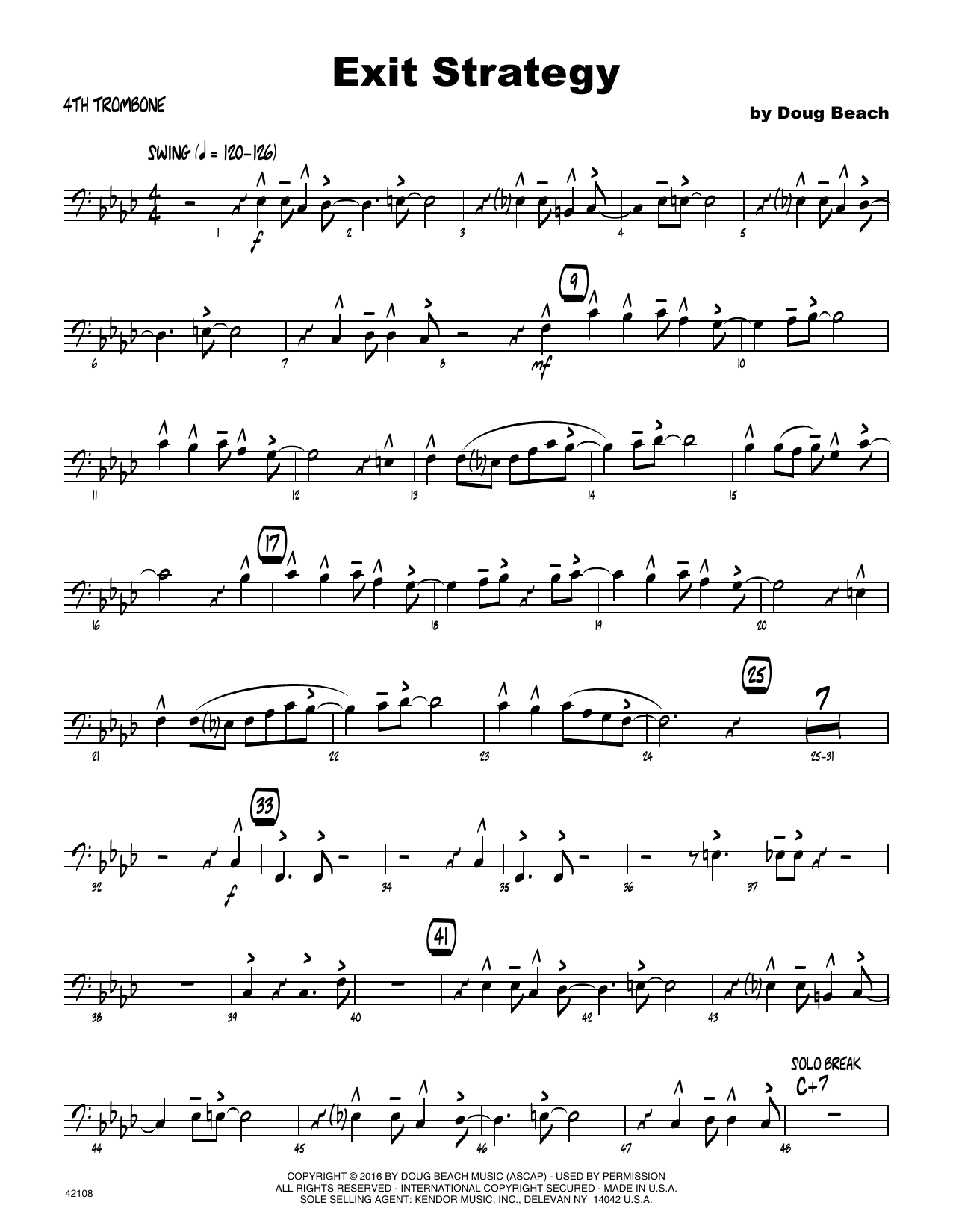Exit Strategy - 4th Trombone Sheet Music