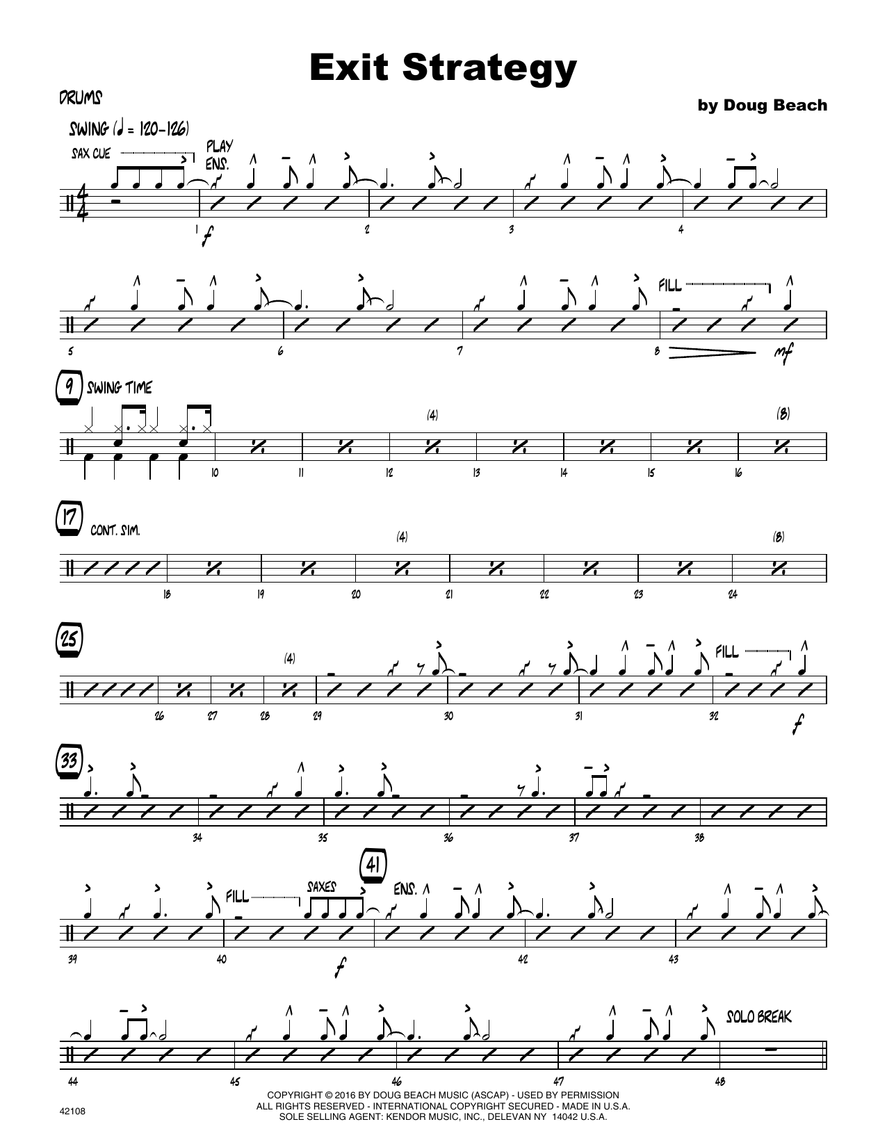 Exit Strategy - Drum Set Sheet Music