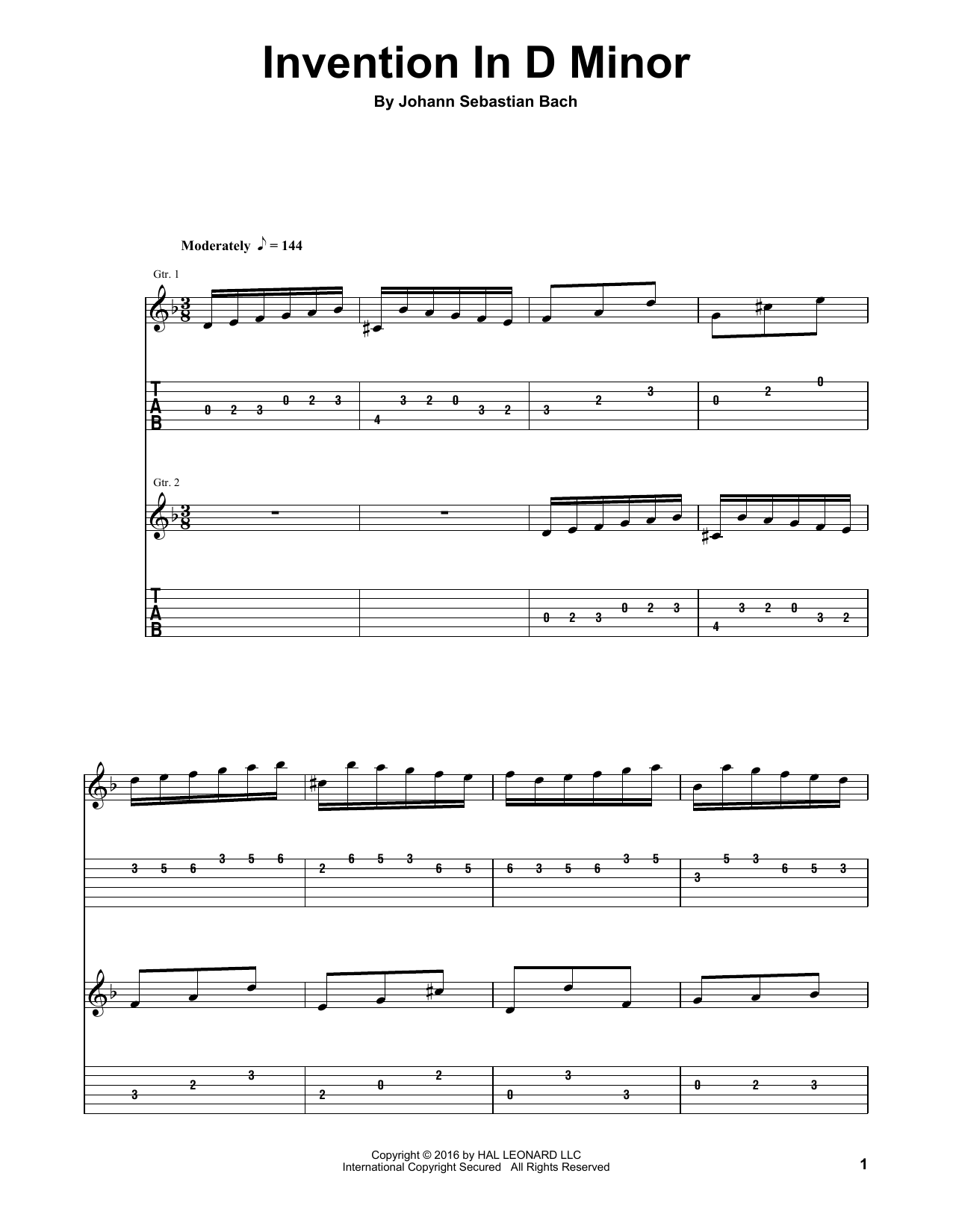 Invention In D Minor (Guitar Tab (Single Guitar))
