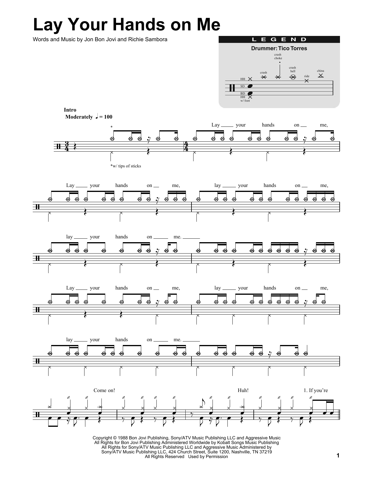 Lay Your Hands On Me Sheet Music