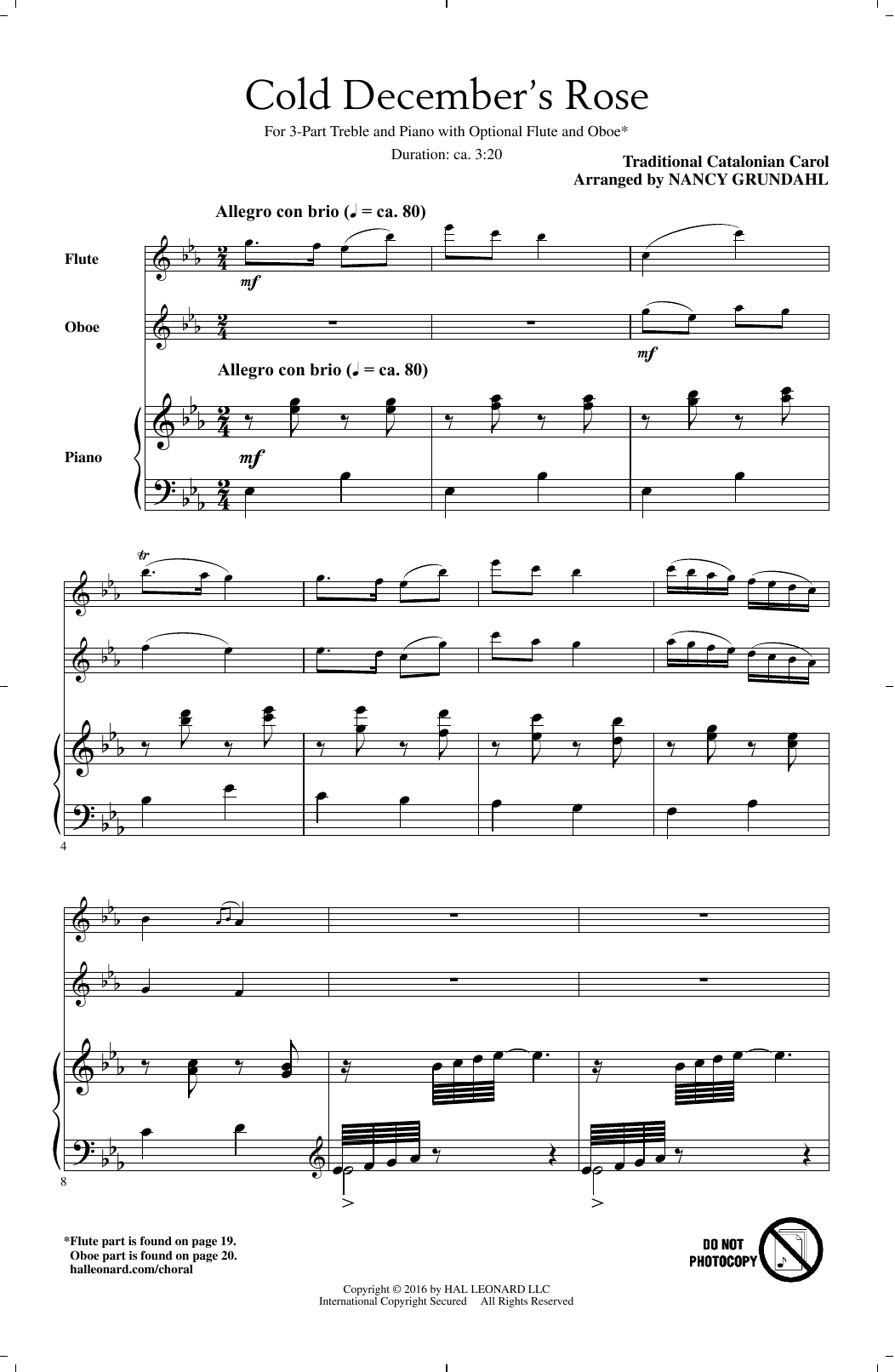 Partition chorale Cold December's Rose (arr. Nancy Grundahl) de Traditional Carol - 3 voix egales