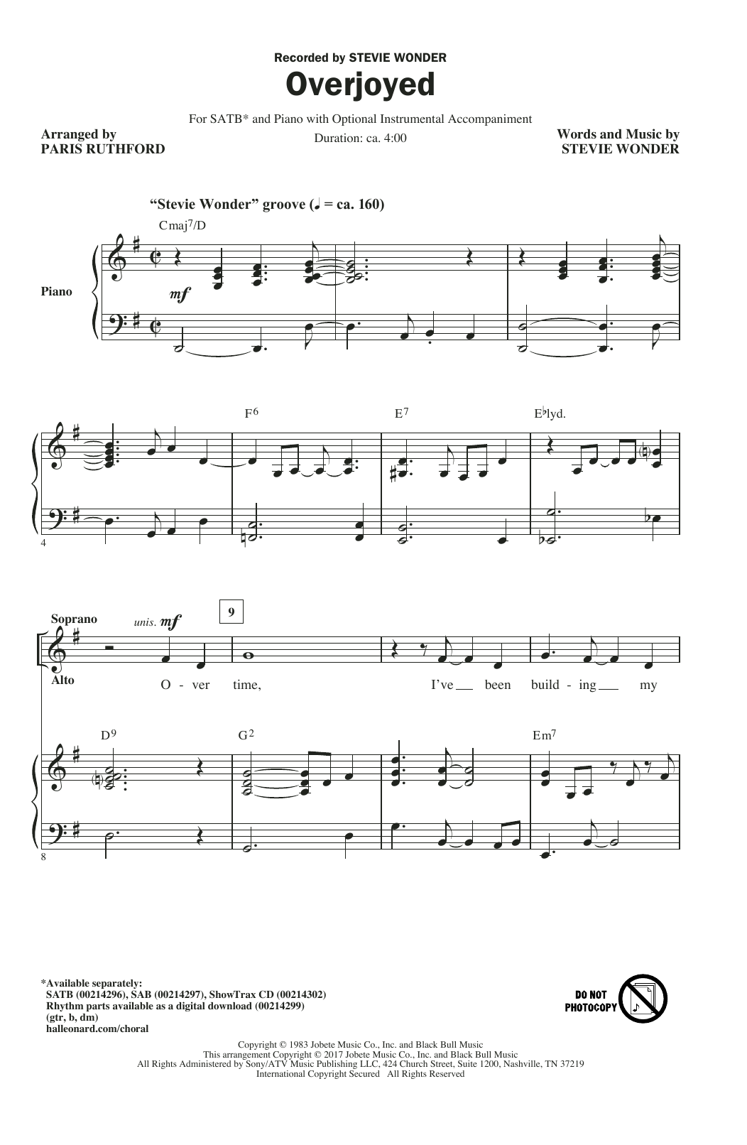 Overjoyed (SATB Choir)