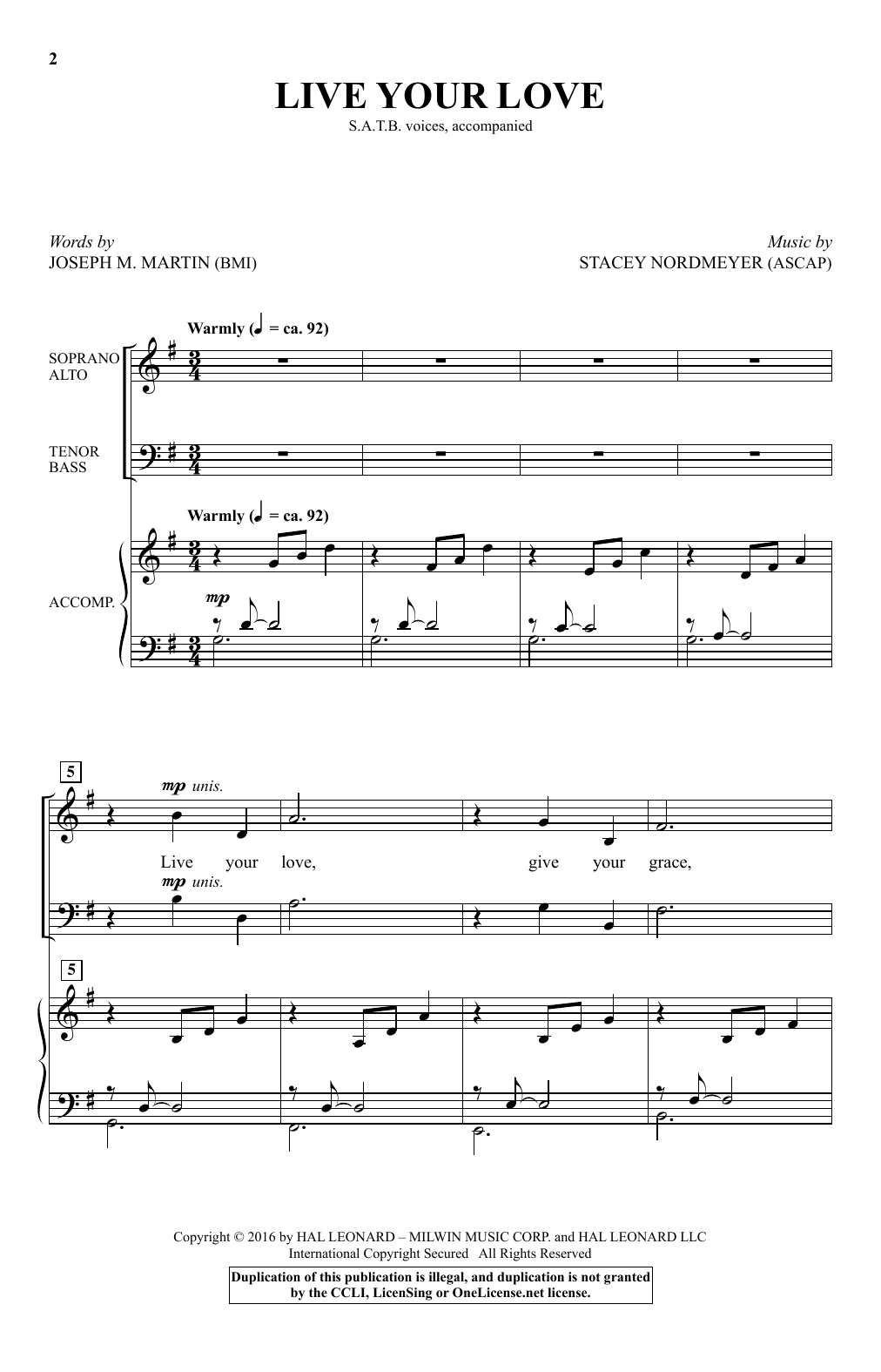 Live Your Love (SATB Choir)