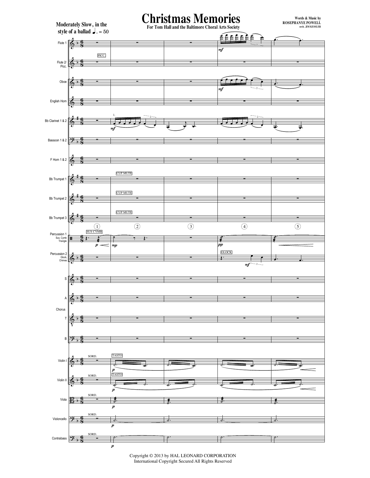 Christmas Memories (COMPLETE) sheet music for orchestra/band by Rosephanye Powell. Score Image Preview.