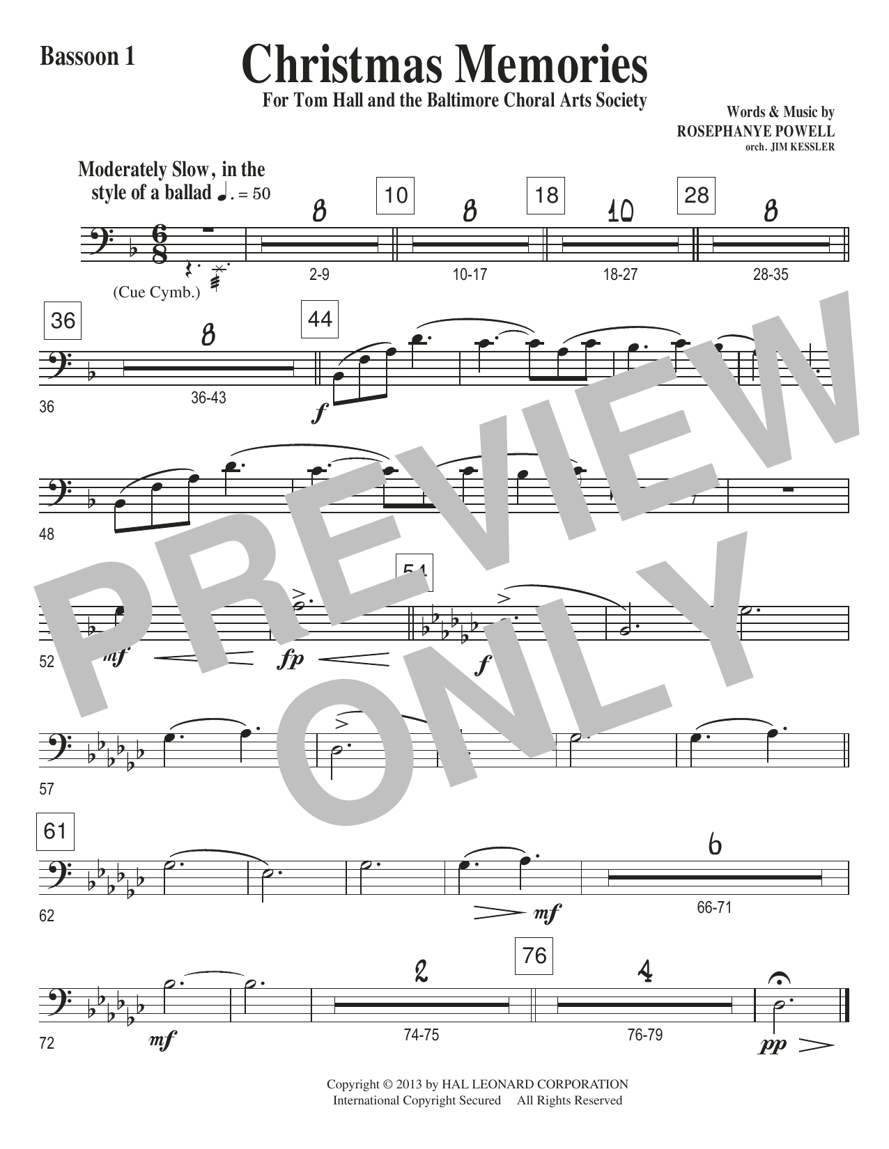 Christmas Memories - Bassoon 1 Sheet Music